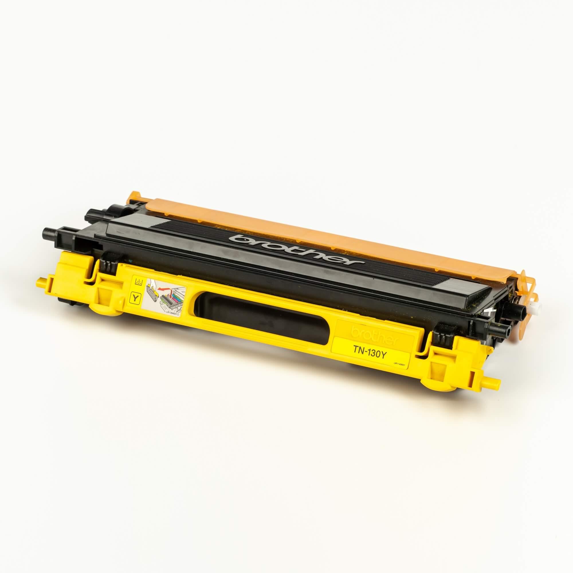Auf dem Bild sehen Sie eine Brother TN-130Y Gelb Original Tonerkassette