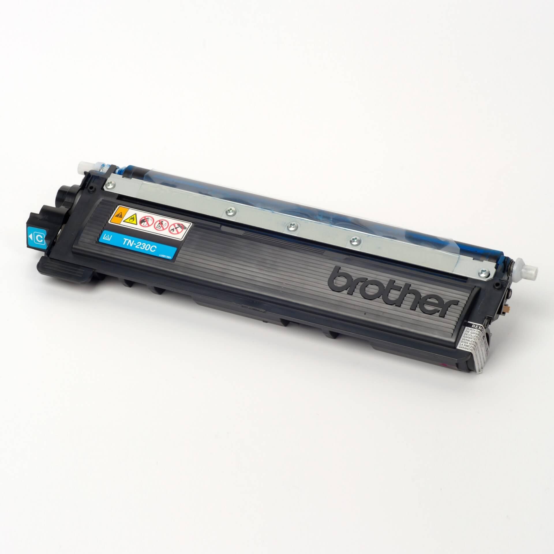 Auf dem Bild sehen Sie eine Brother TN-230C Blau Original Tonerkassette
