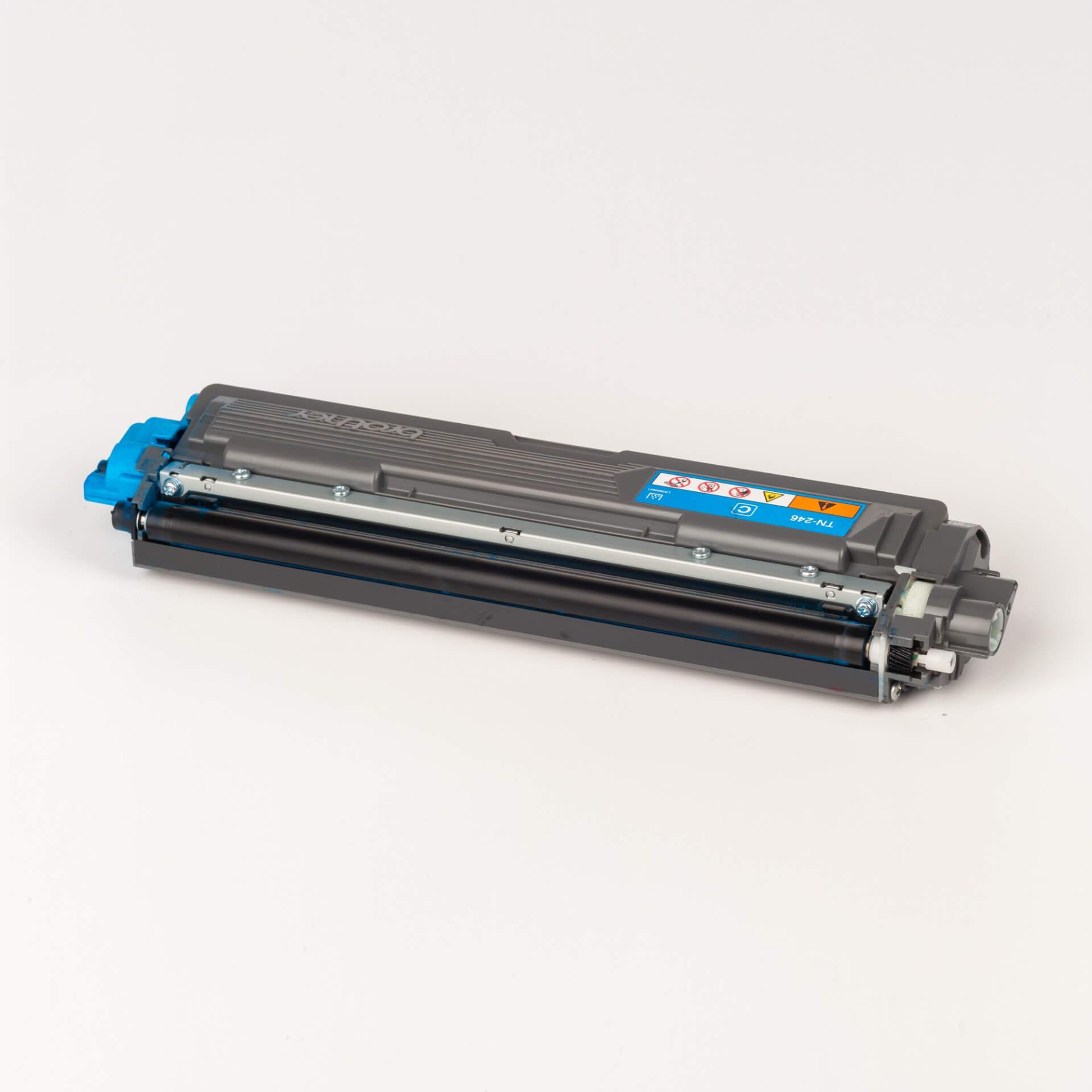 Auf dem Bild sehen Sie eine Brother TN-246C Blau Original Tonerkassette