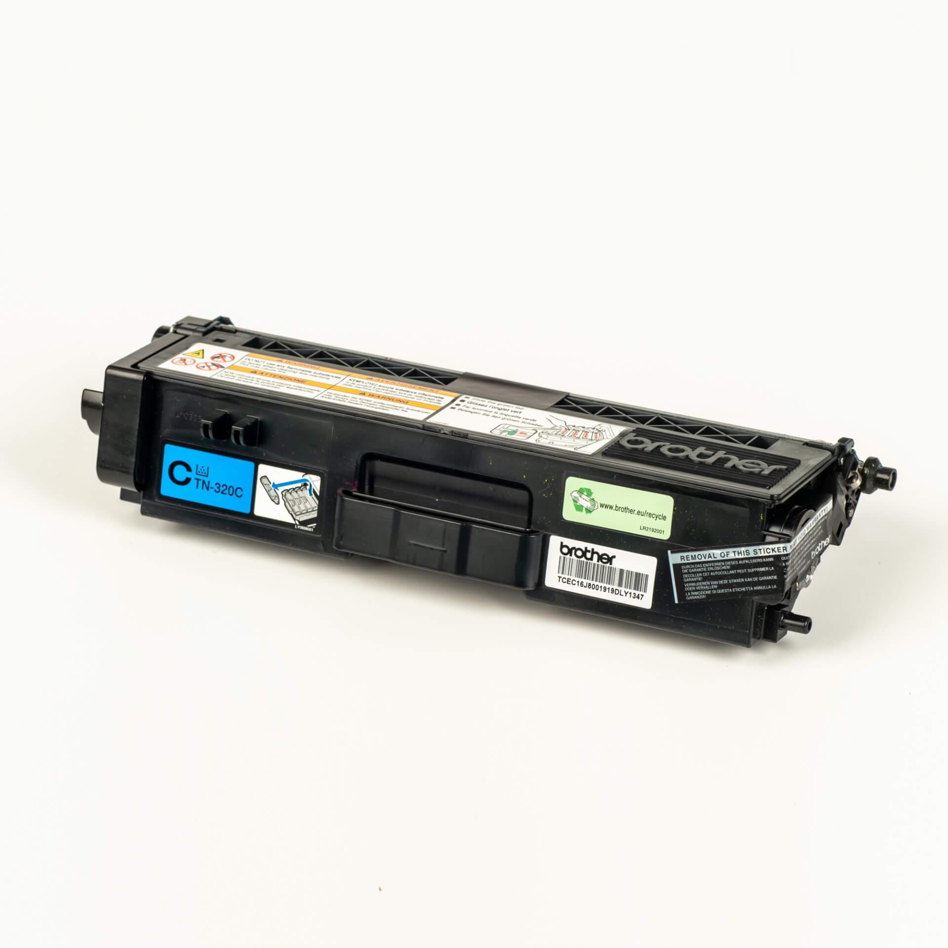 Auf dem Bild sehen Sie eine Brother TN-320C Blau Original Tonerkassette