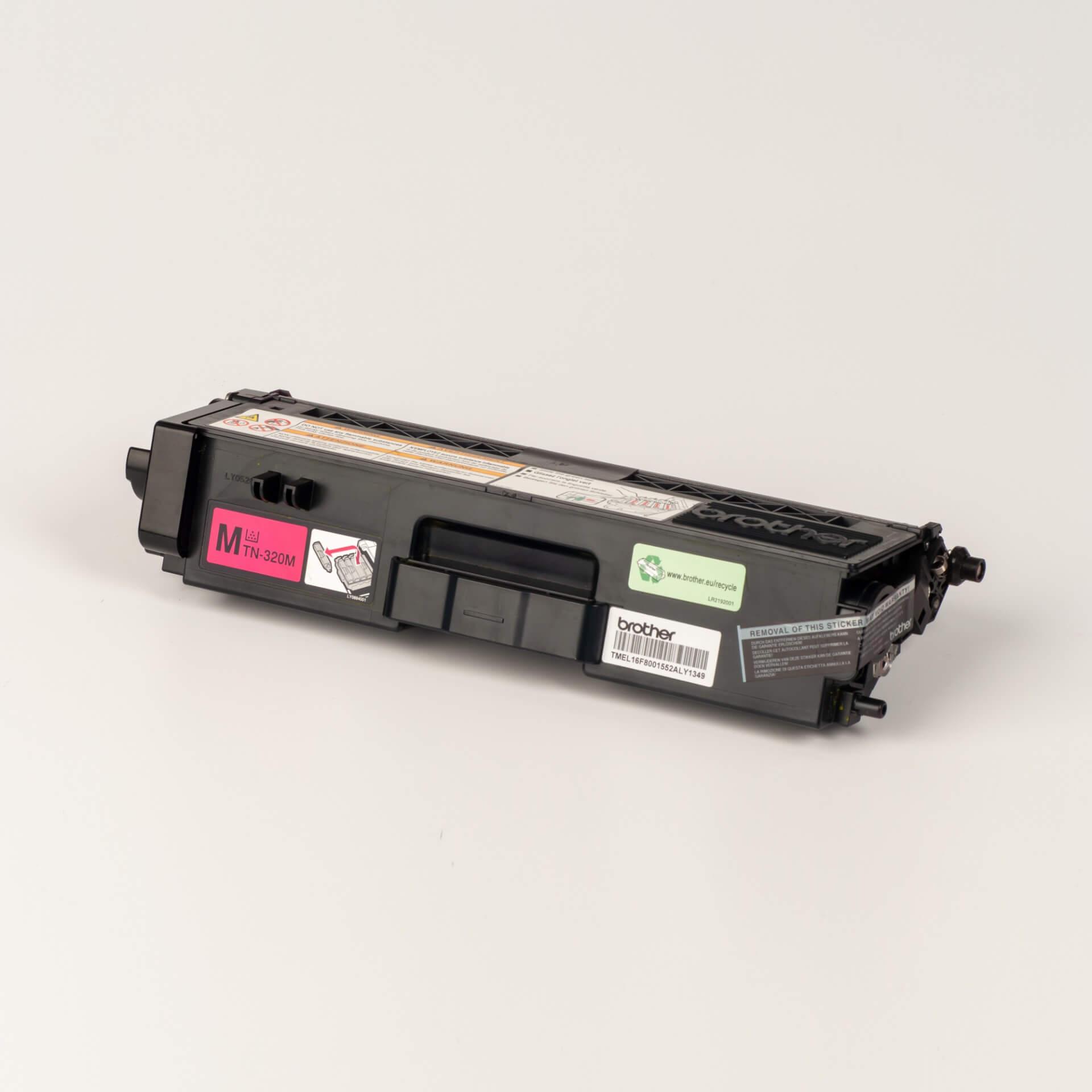 Auf dem Bild sehen Sie eine Brother TN-320M Rot Original Tonerkassette