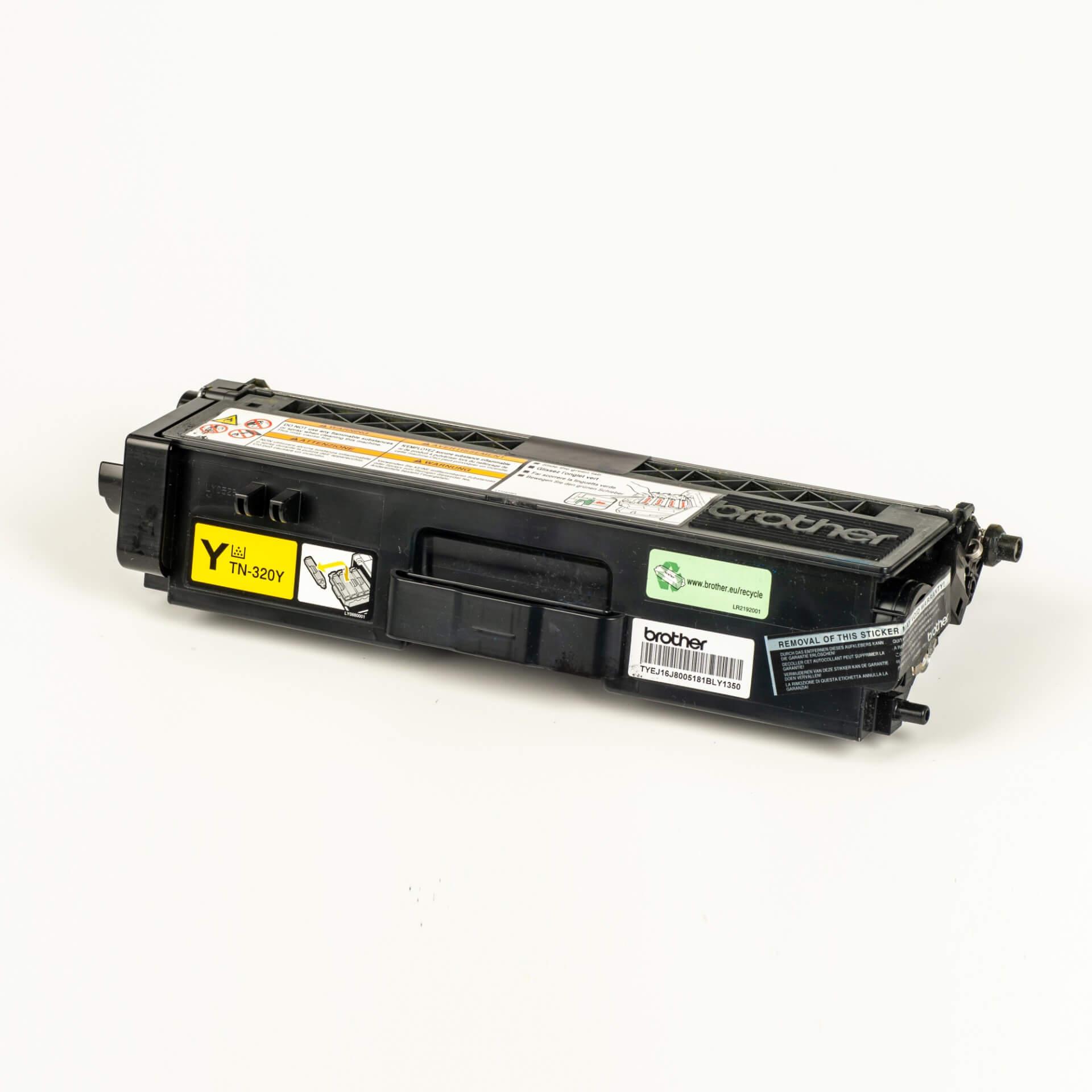 Auf dem Bild sehen Sie eine Brother TN-320Y Gelb Original Tonerkassette