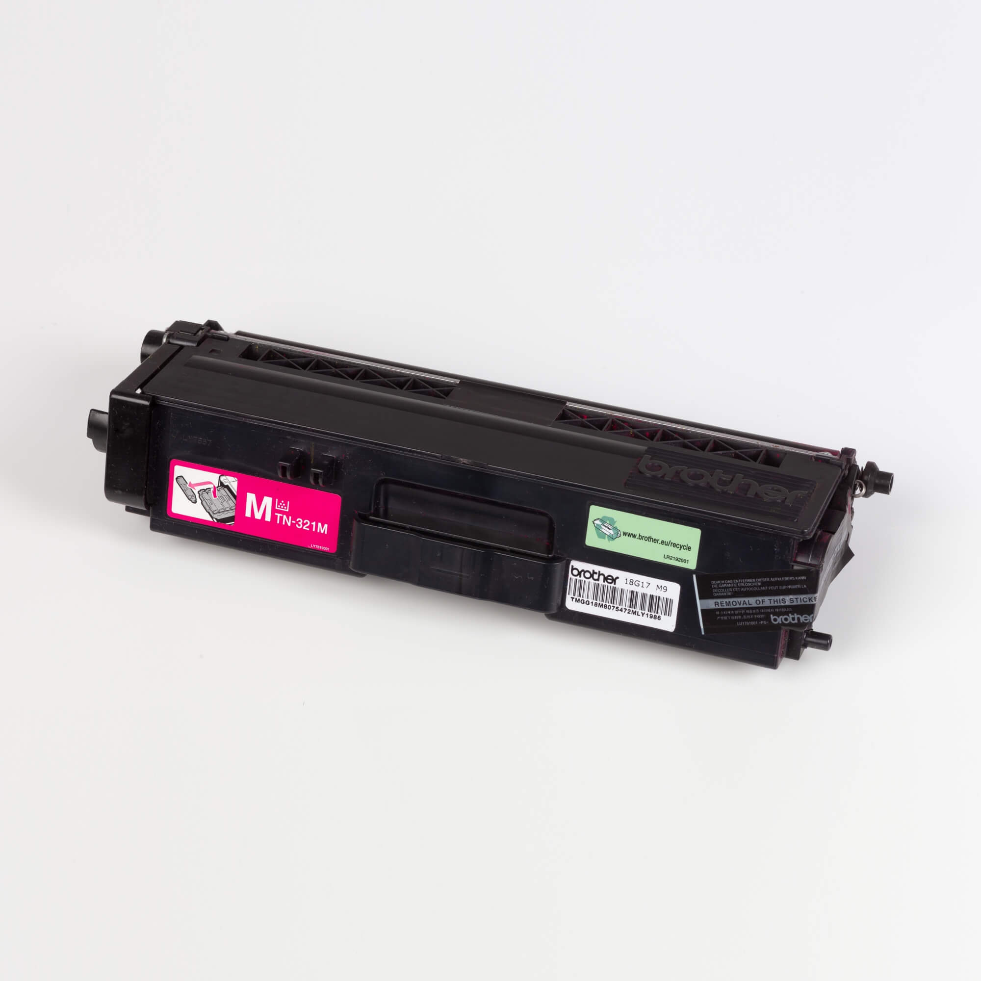 Auf dem Bild sehen Sie eine Brother TN-321M Rot Original Tonerkassette