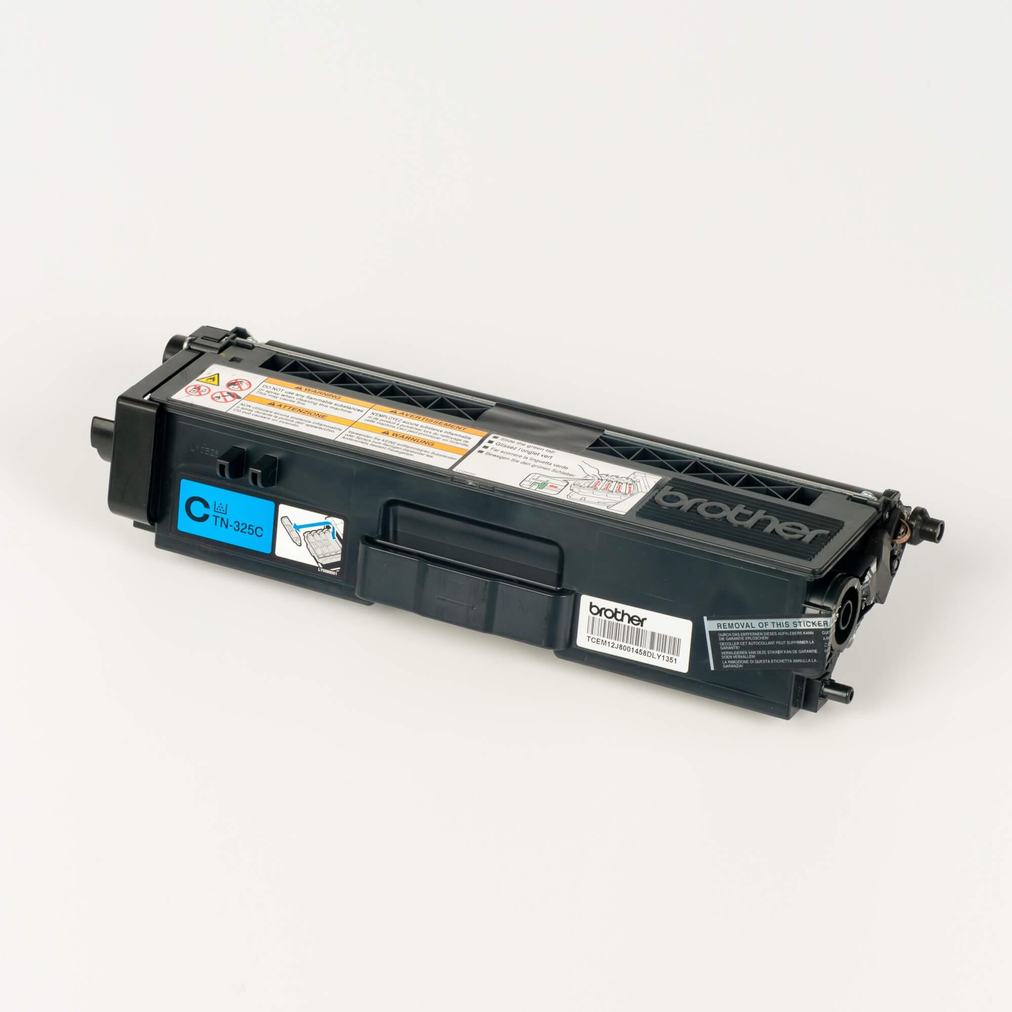 Auf dem Bild sehen Sie eine Brother TN-325C Blau Original Tonerkassette