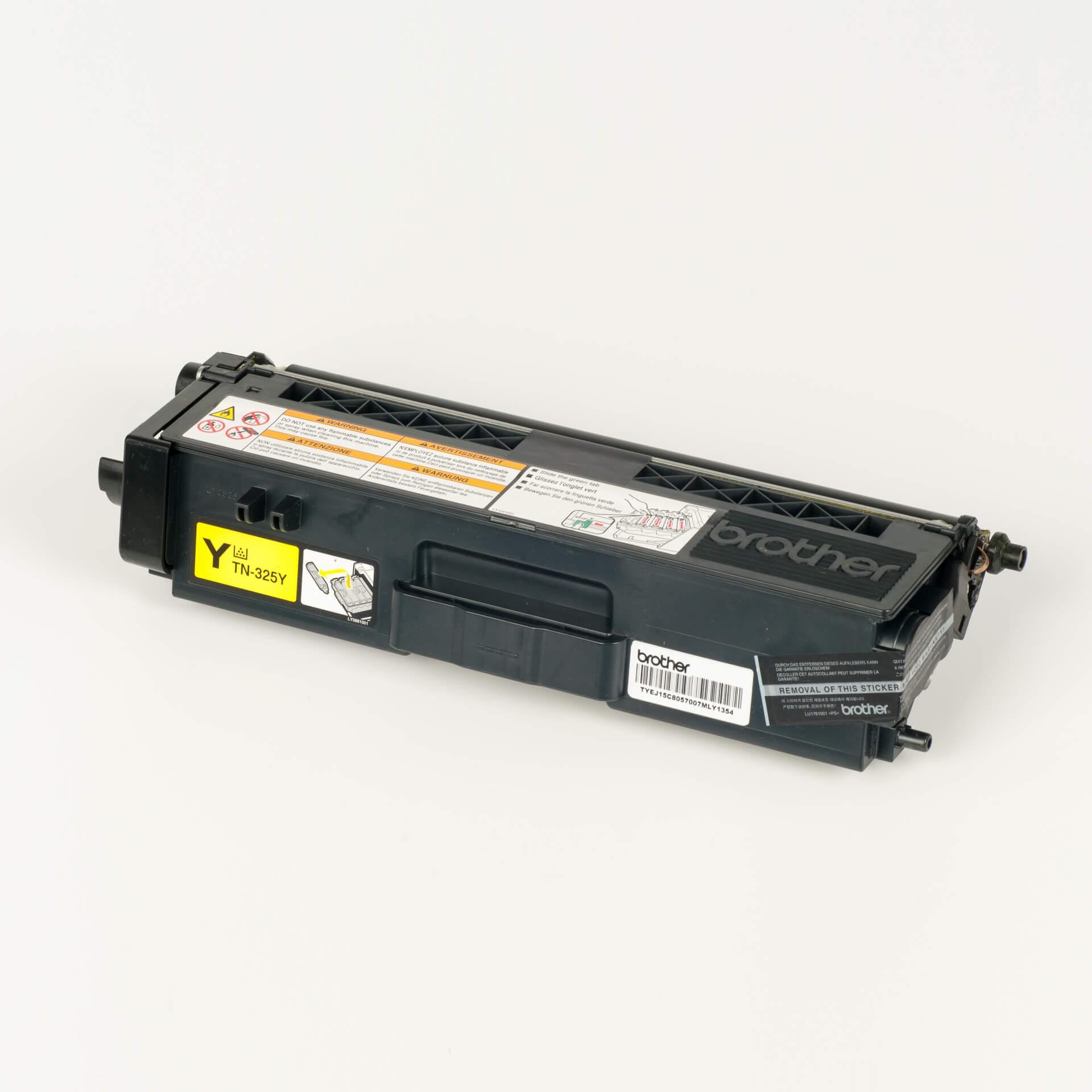 Auf dem Bild sehen Sie eine Brother TN-325Y Gelb Original Tonerkassette