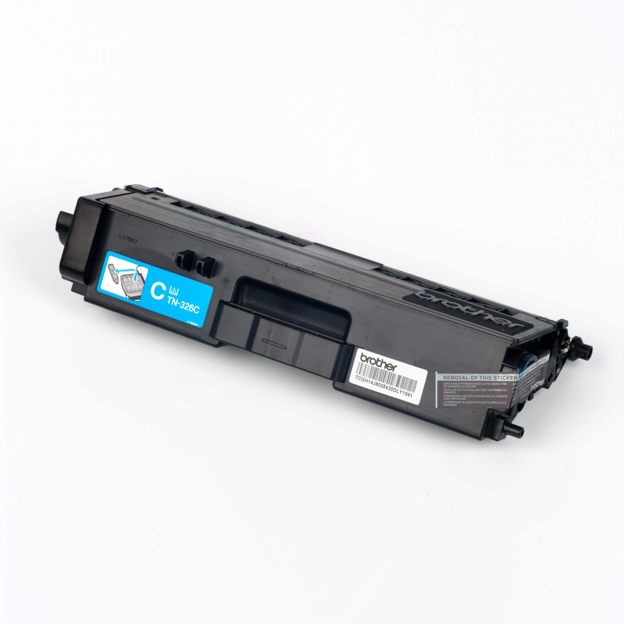 Auf dem Bild sehen Sie eine Brother TN-326C Blau Original Tonerkassette