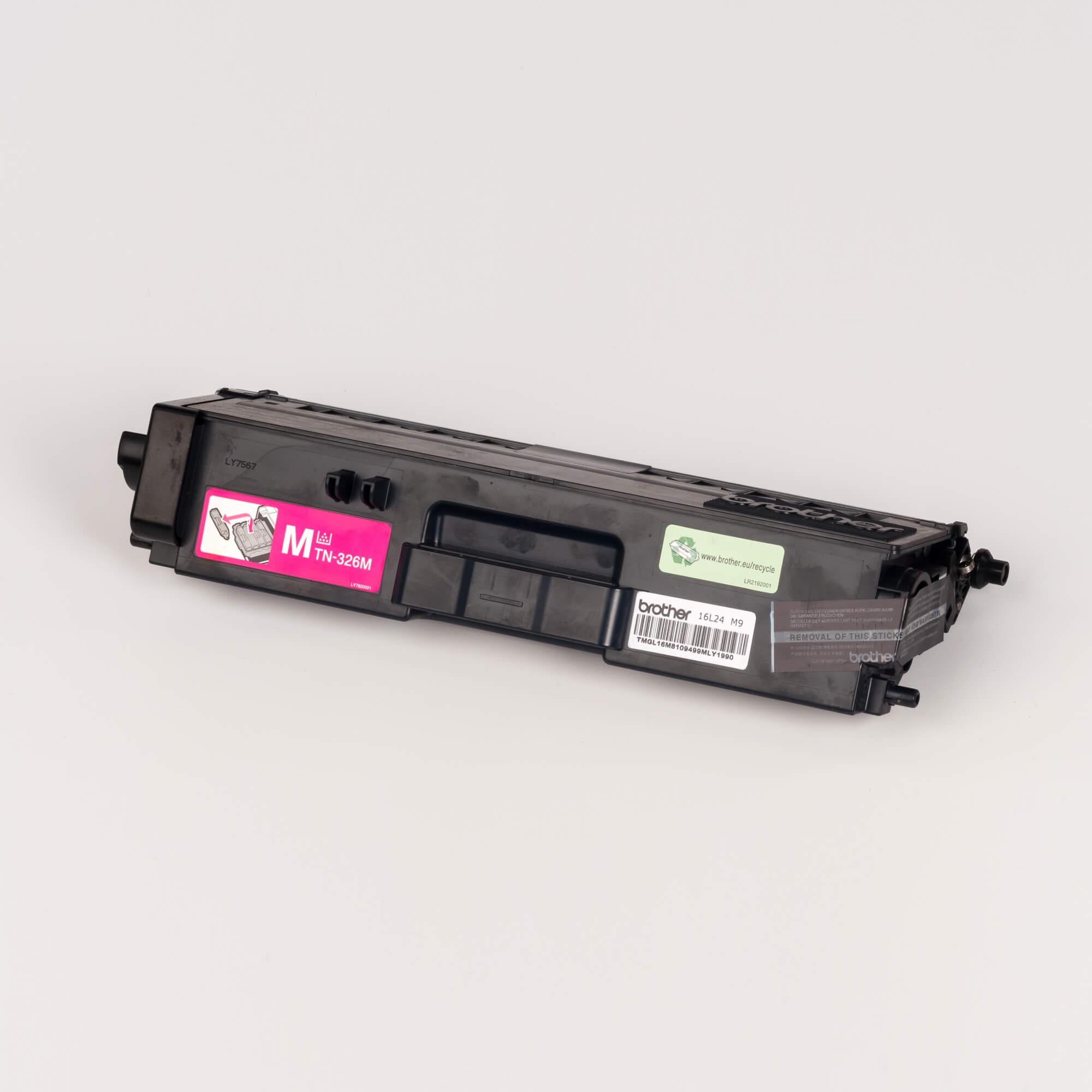 Auf dem Bild sehen Sie eine Brother TN-326M Rot Original Tonerkassette