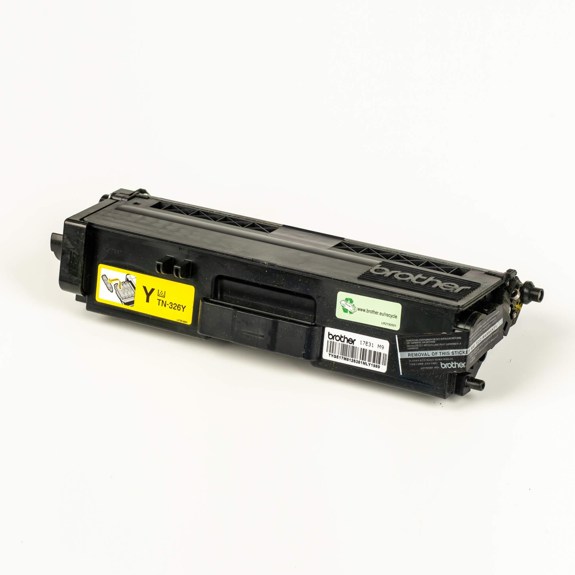 Auf dem Bild sehen Sie eine Brother TN-326Y Gelb Original Tonerkassette