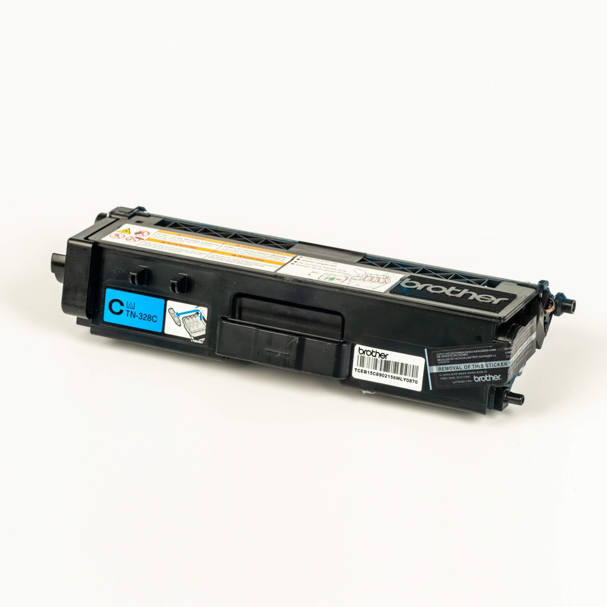 Auf dem Bild sehen Sie eine Brother Original Super-Jumbo-Tonerkassette TN-328C blau