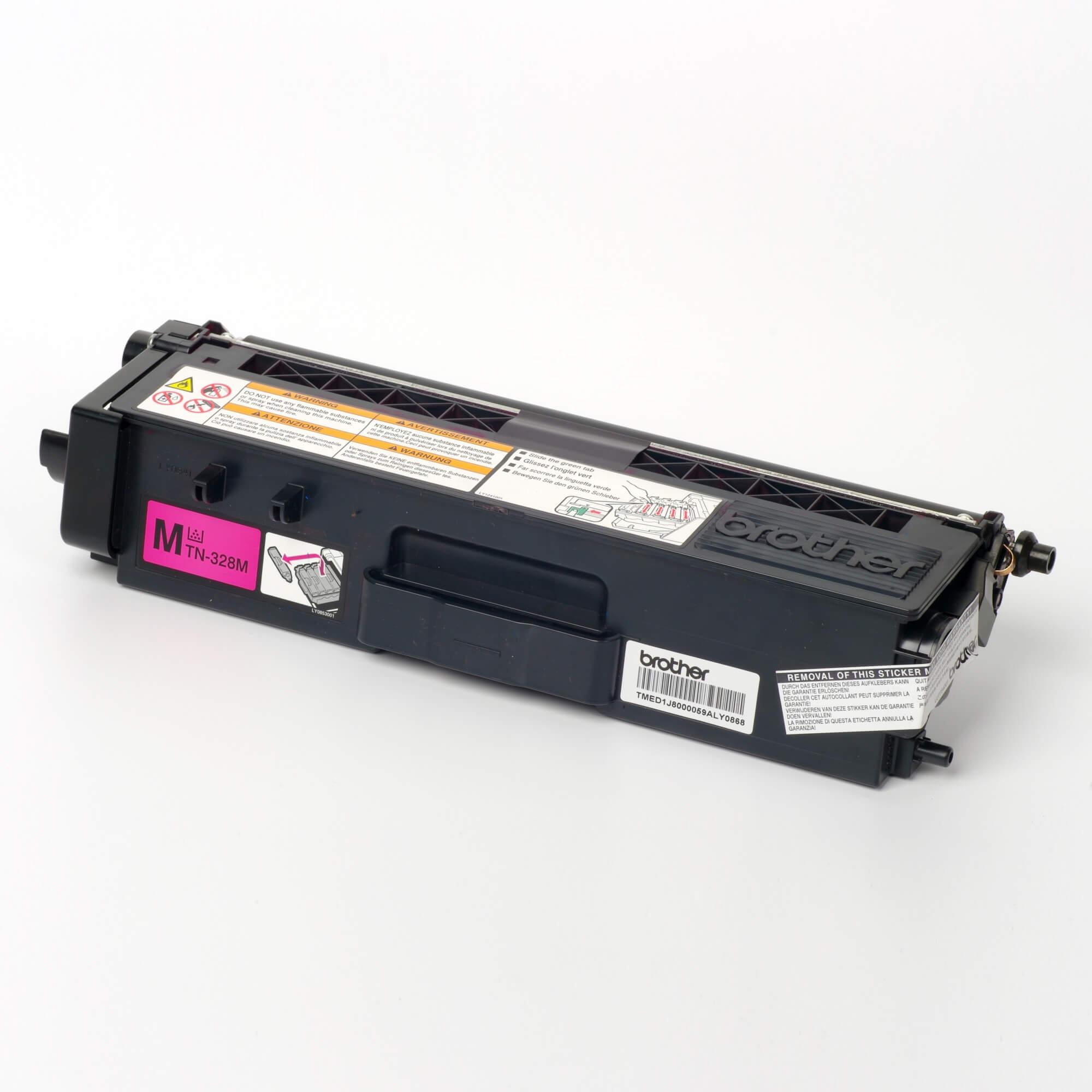 Auf dem Bild sehen Sie eine Brother Original Super-Jumbo-Tonerkassette TN-328M rot