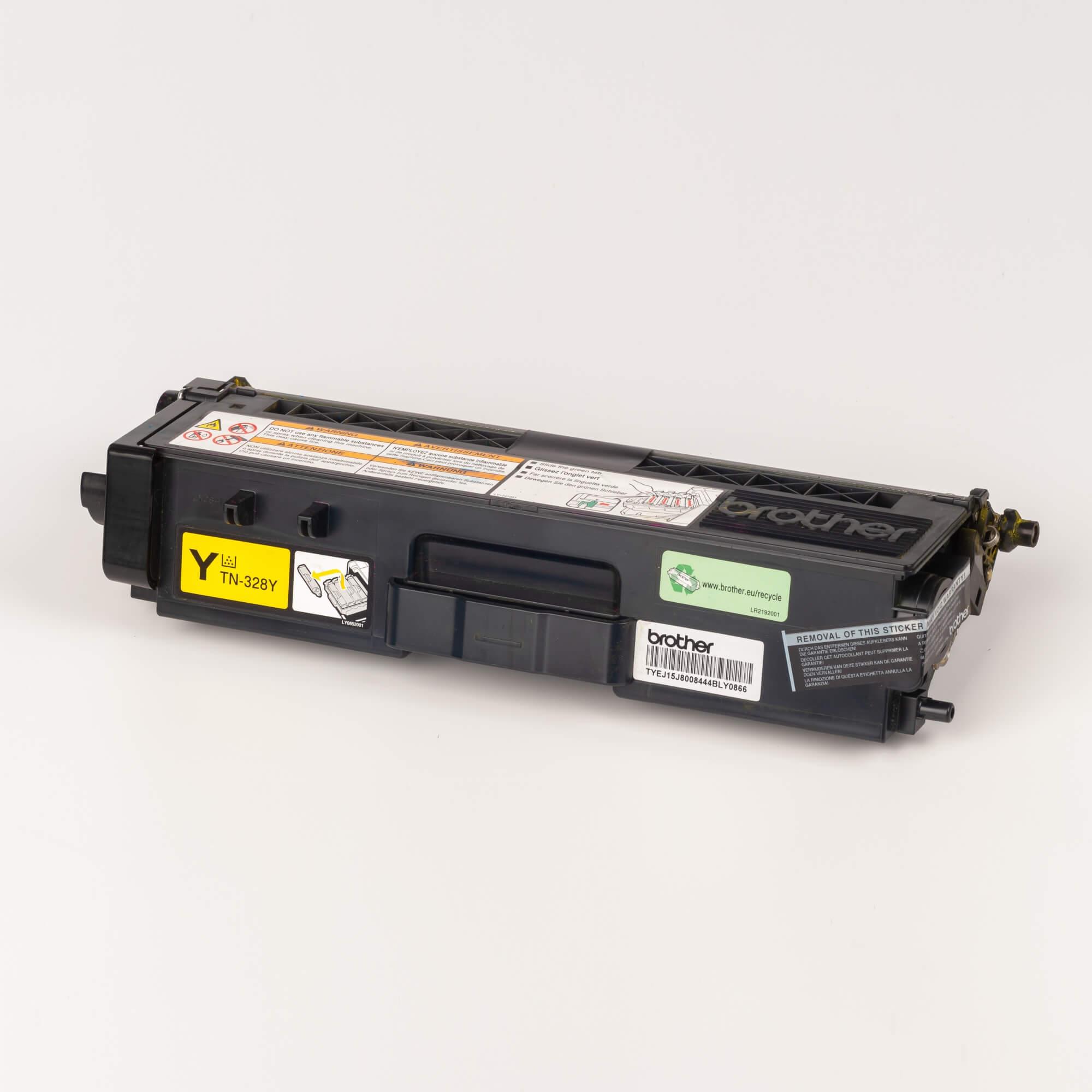 Auf dem Bild sehen Sie eine Brother Original Super-Jumbo-Tonerkassette TN-328Y gelb
