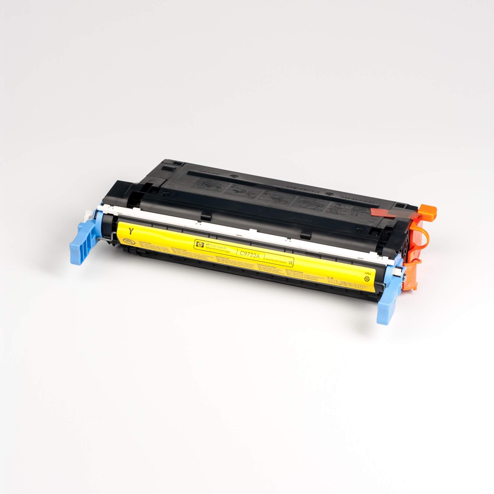 Auf dem Bild sehen Sie eine HP 641A (C9722A) Gelb Original Tonerkartusche