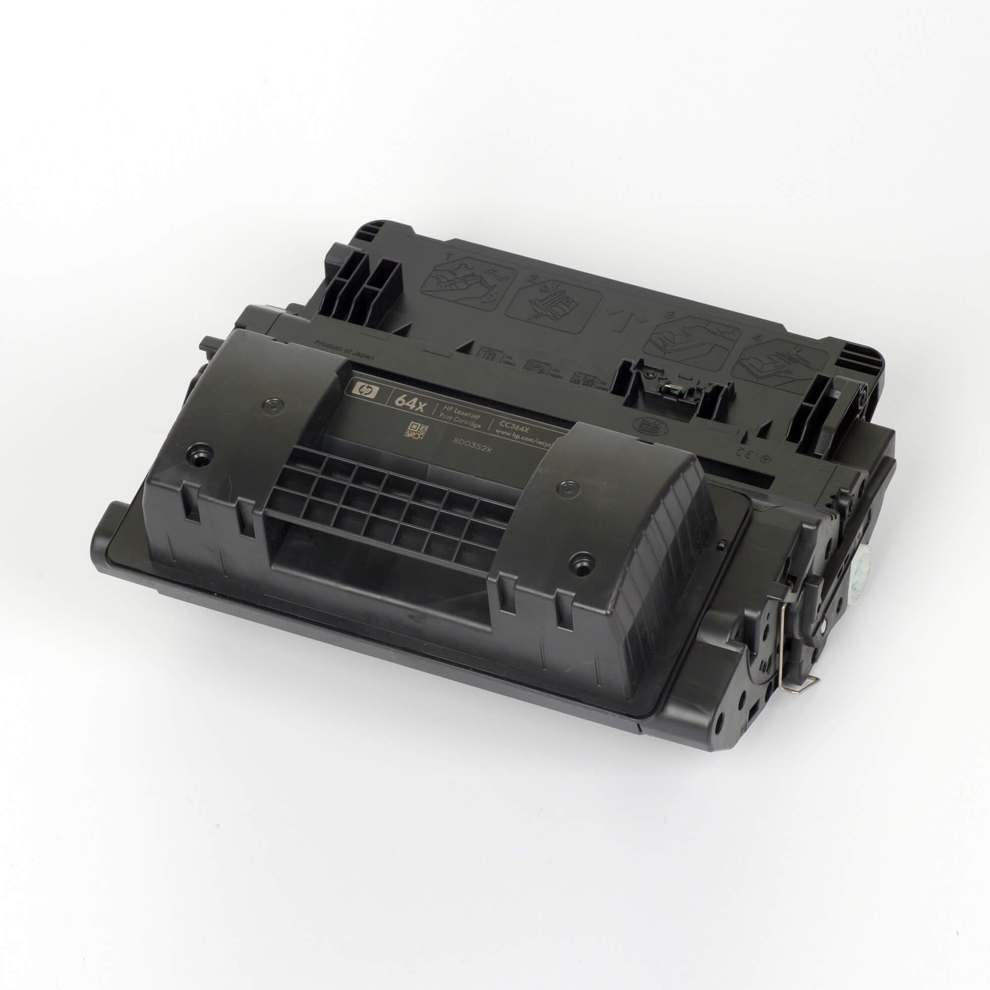 Auf dem Bild sehen Sie eine HP 64X (CC364X) Schwarz Original Toner mit hoher Reichweite