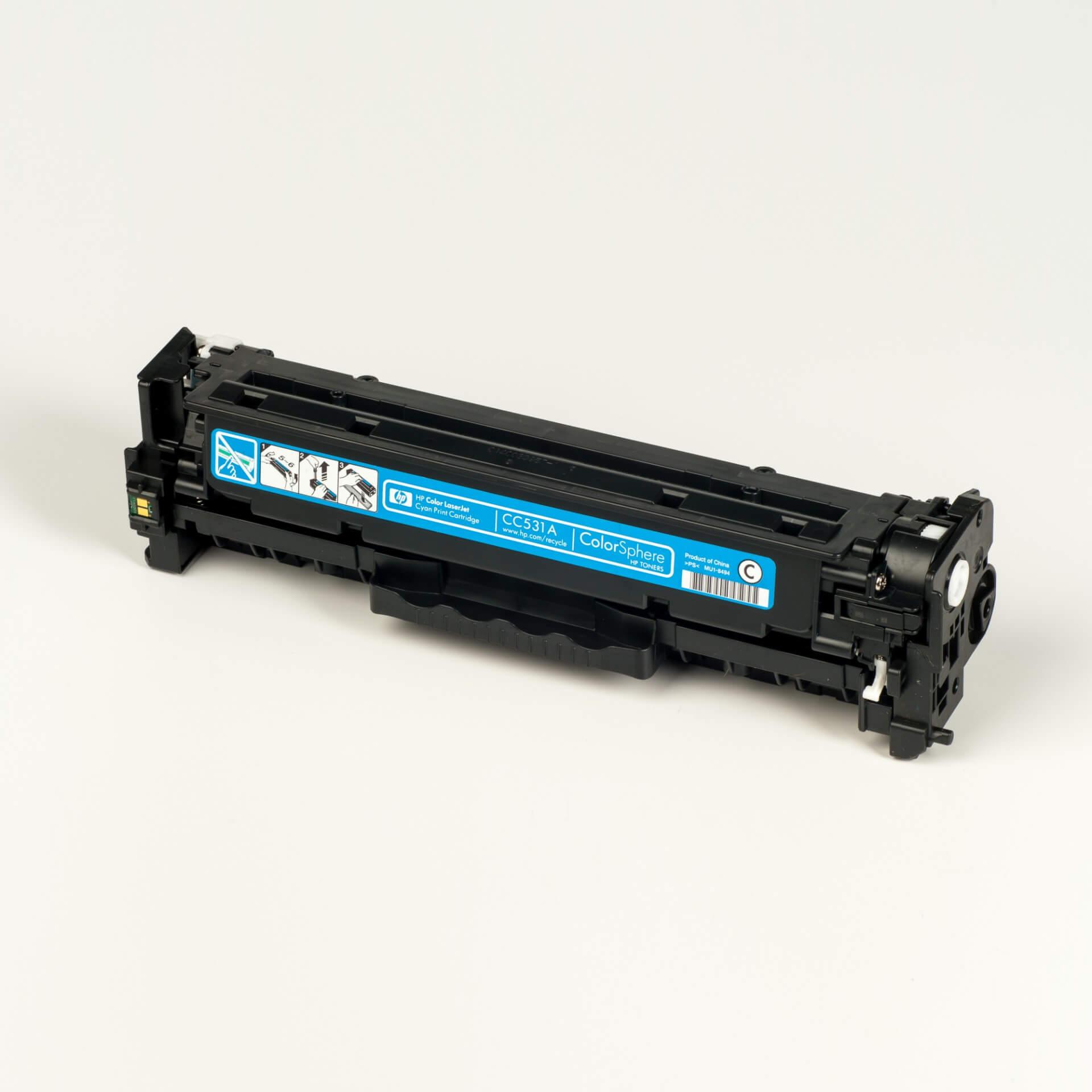 Auf dem Bild sehen Sie eine HP 304A (CC531A) Blau Original Tonerkartusche
