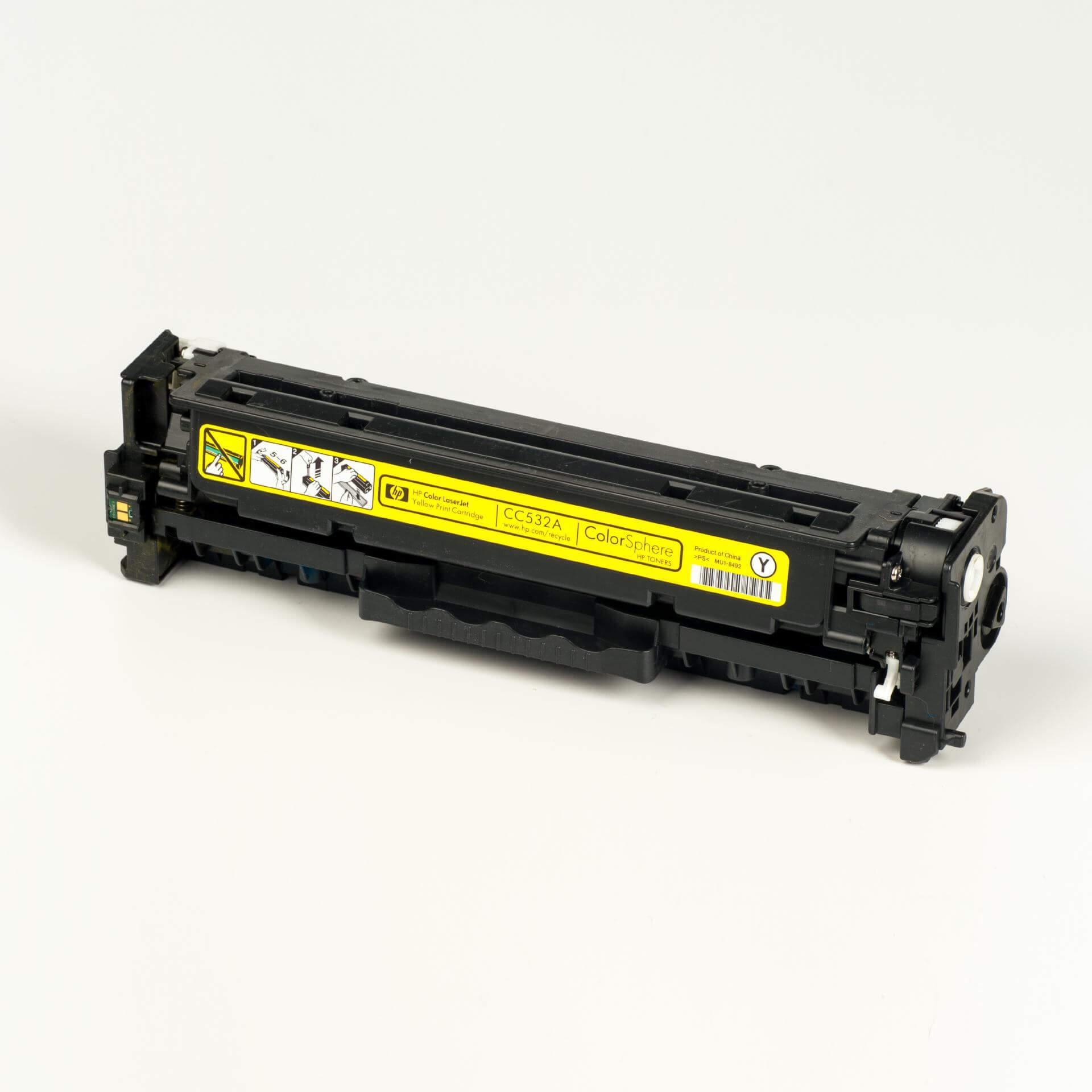 Auf dem Bild sehen Sie eine HP 304A (CC532A) Gelb Original Tonerkartusche