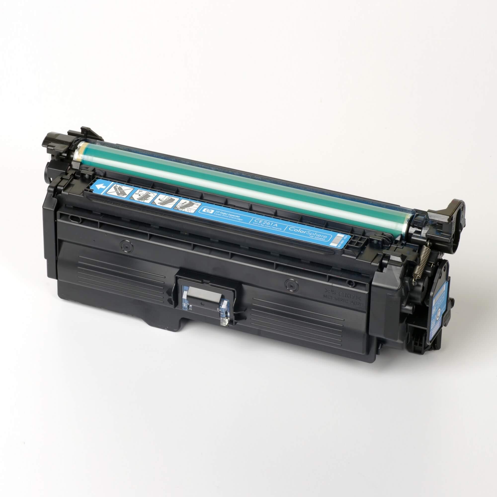 Auf dem Bild sehen Sie eine HP 648A (CE261A) Blau Original Tonerkartusche