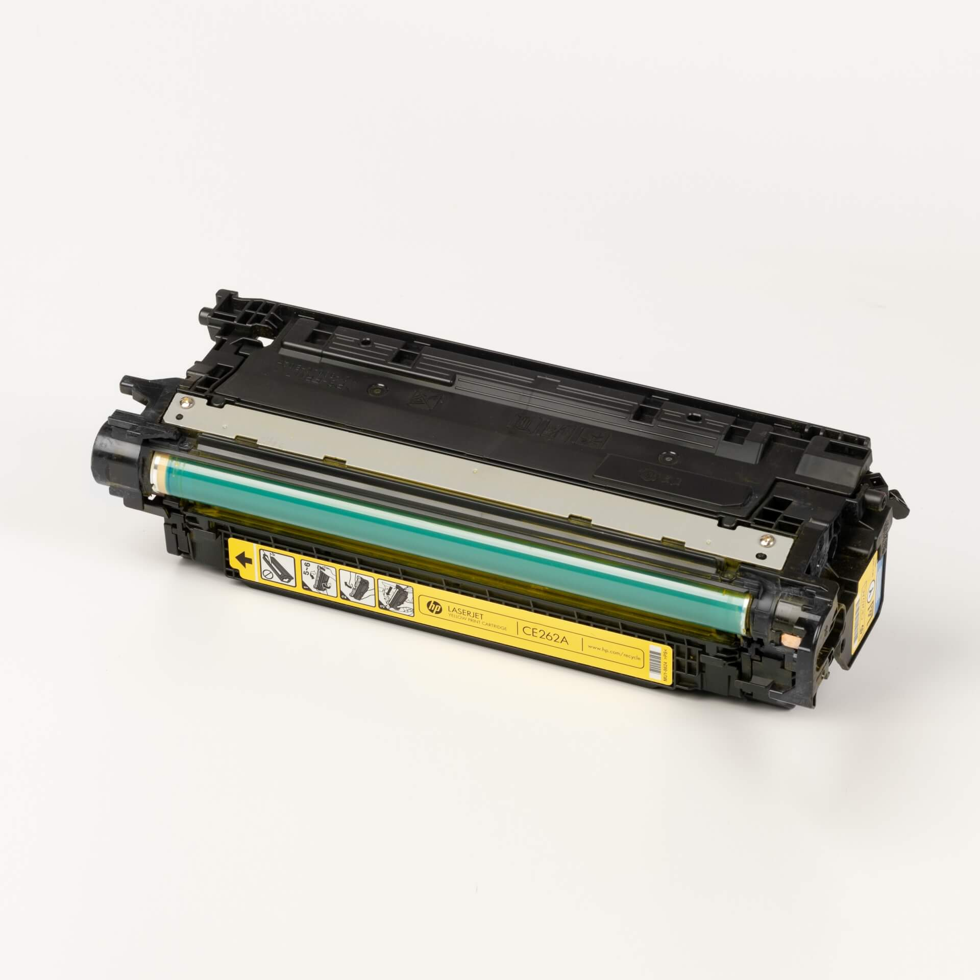 Auf dem Bild sehen Sie eine HP 648A (CE262A) Gelb Original Tonerkartusche
