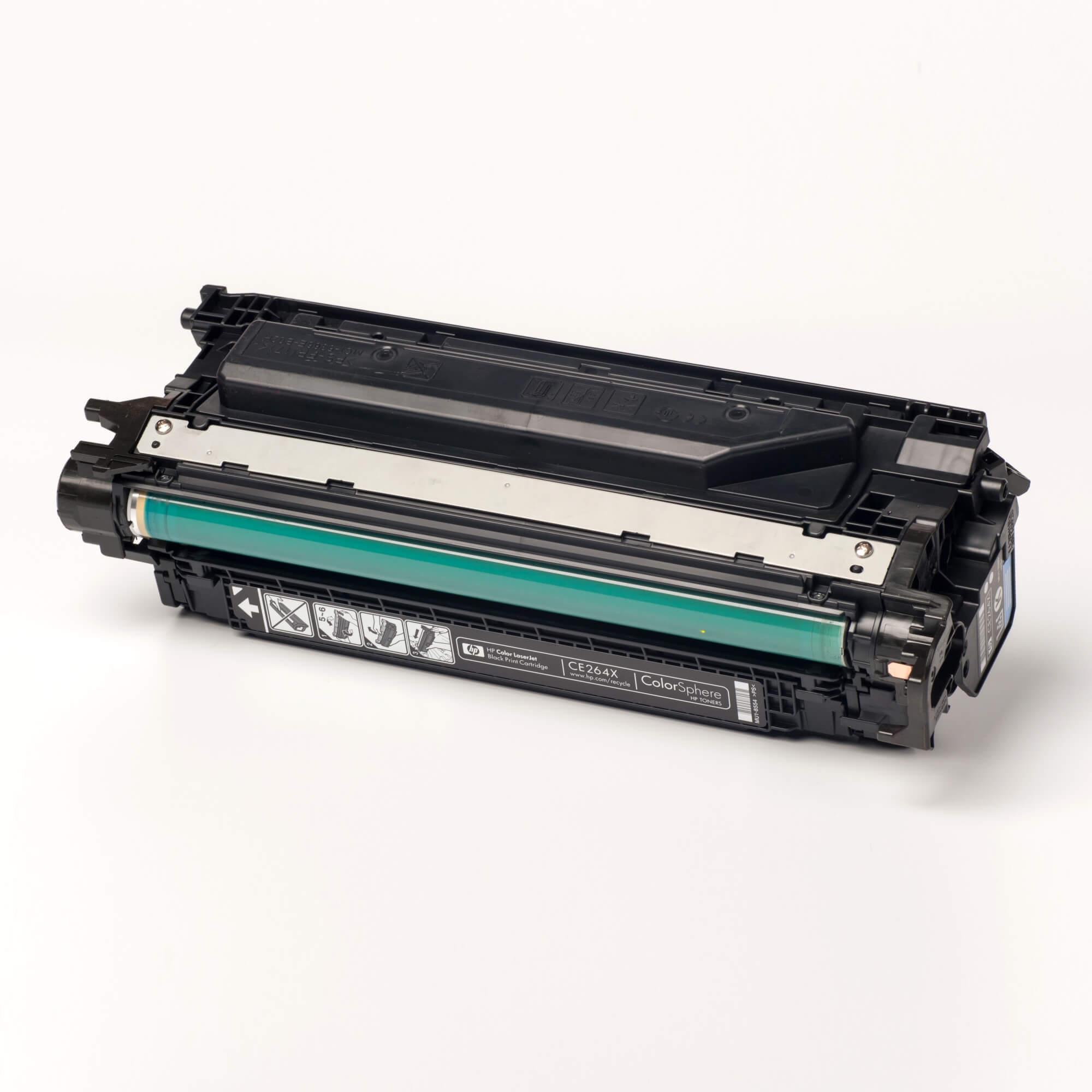 Auf dem Bild sehen Sie eine HP 646X (CE264X) Schwarz Original Tonerkartusche mit hoher Reichweite