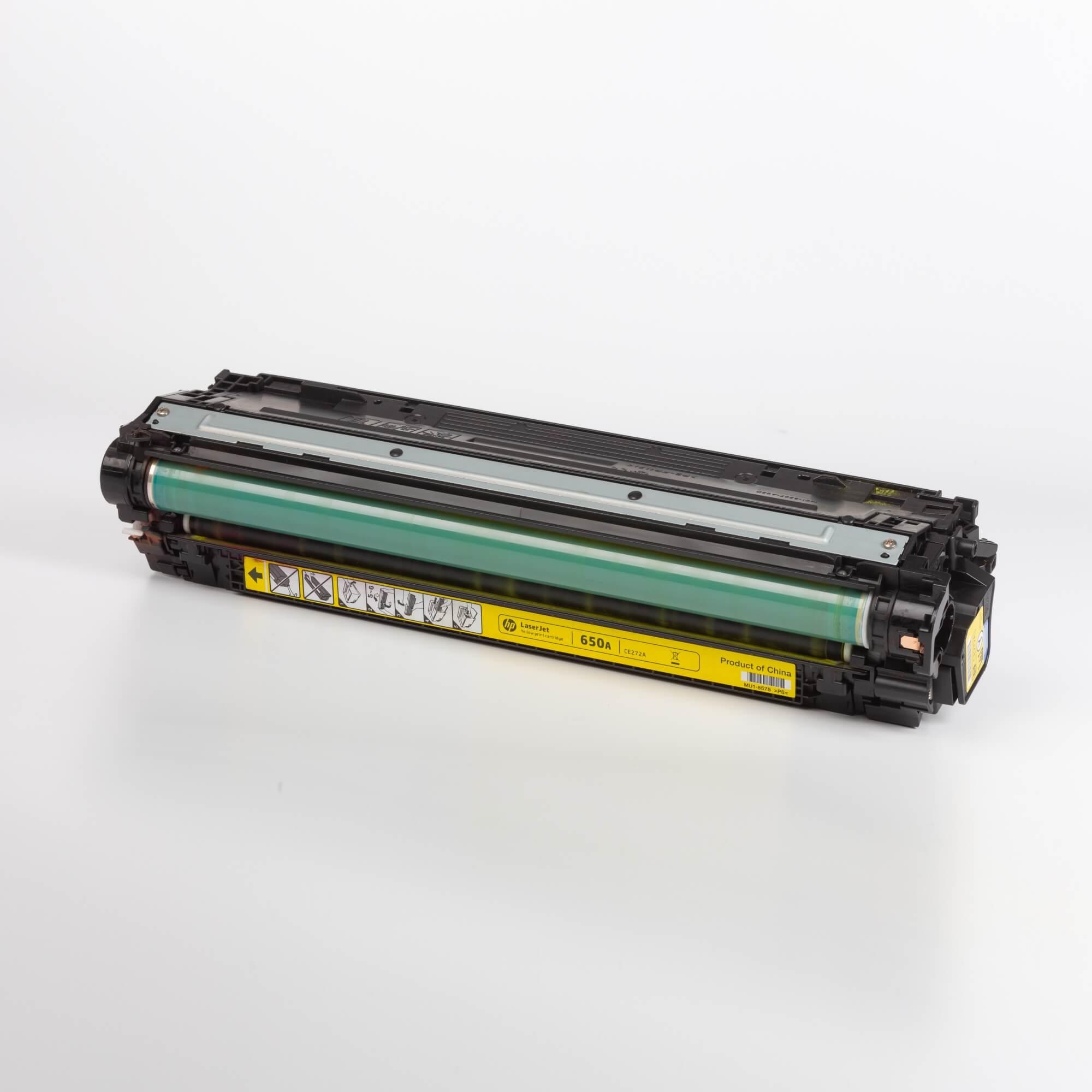 Auf dem Bild sehen Sie eine HP 650A (CE272A) Yellow Original Tonerkartusche