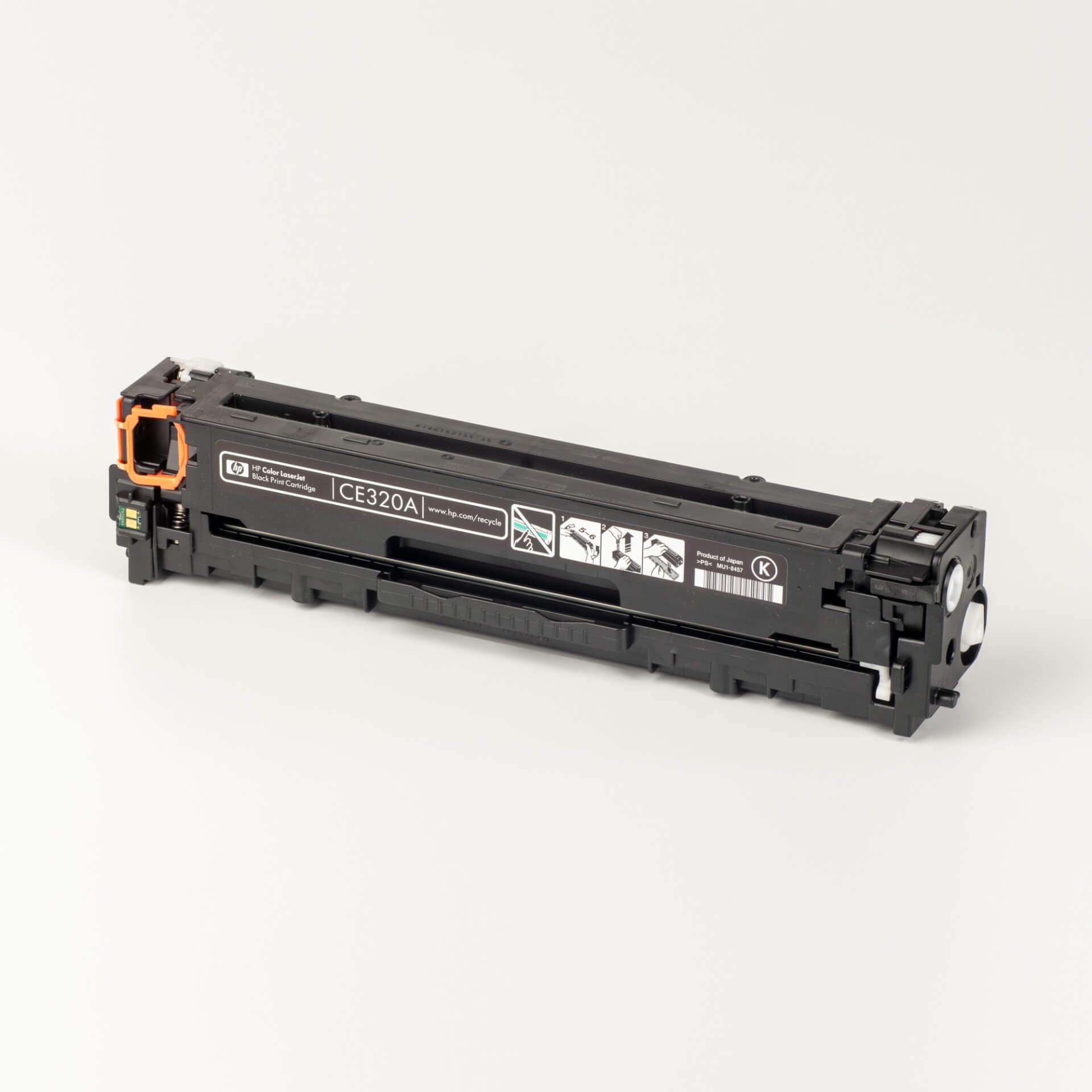 Auf dem Bild sehen Sie eine HP 128A (CE320A) Schwarz Original HP Tonerkartusche
