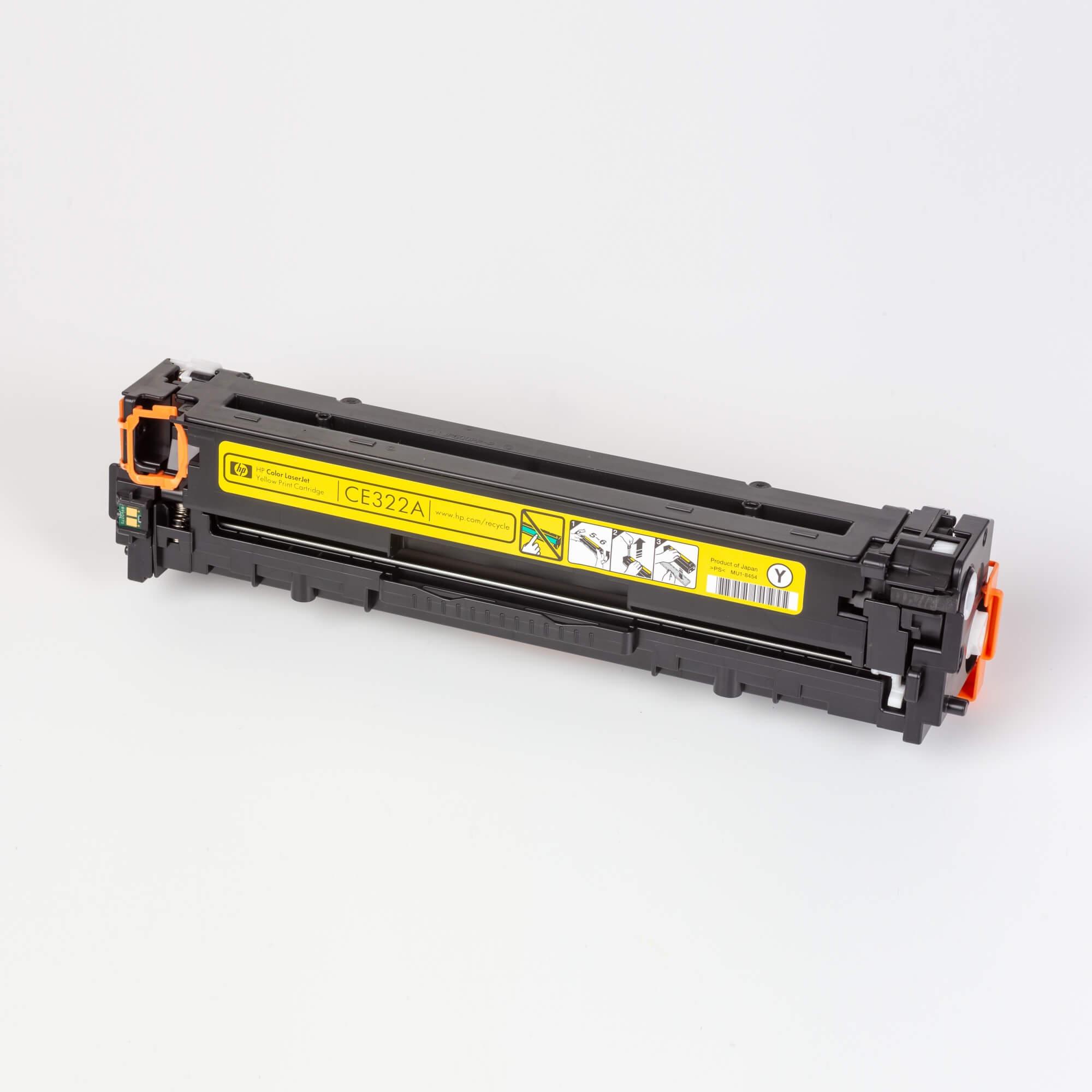Auf dem Bild sehen Sie eine HP 128A (CE322A) Gelb Original Tonerkartusche
