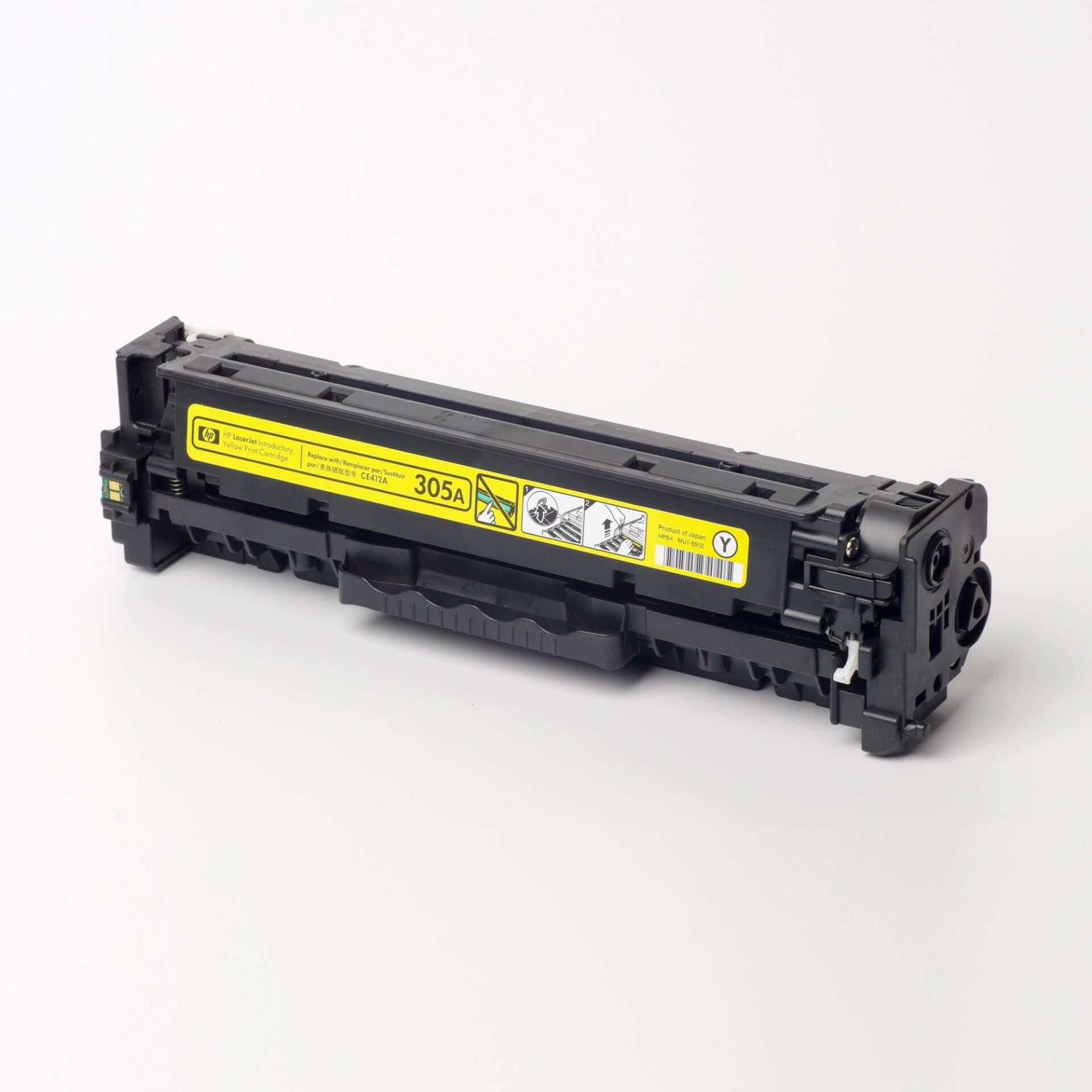 Auf dem Bild sehen Sie eine HP 305A (CE412A) Gelb Original Tonerkartusche