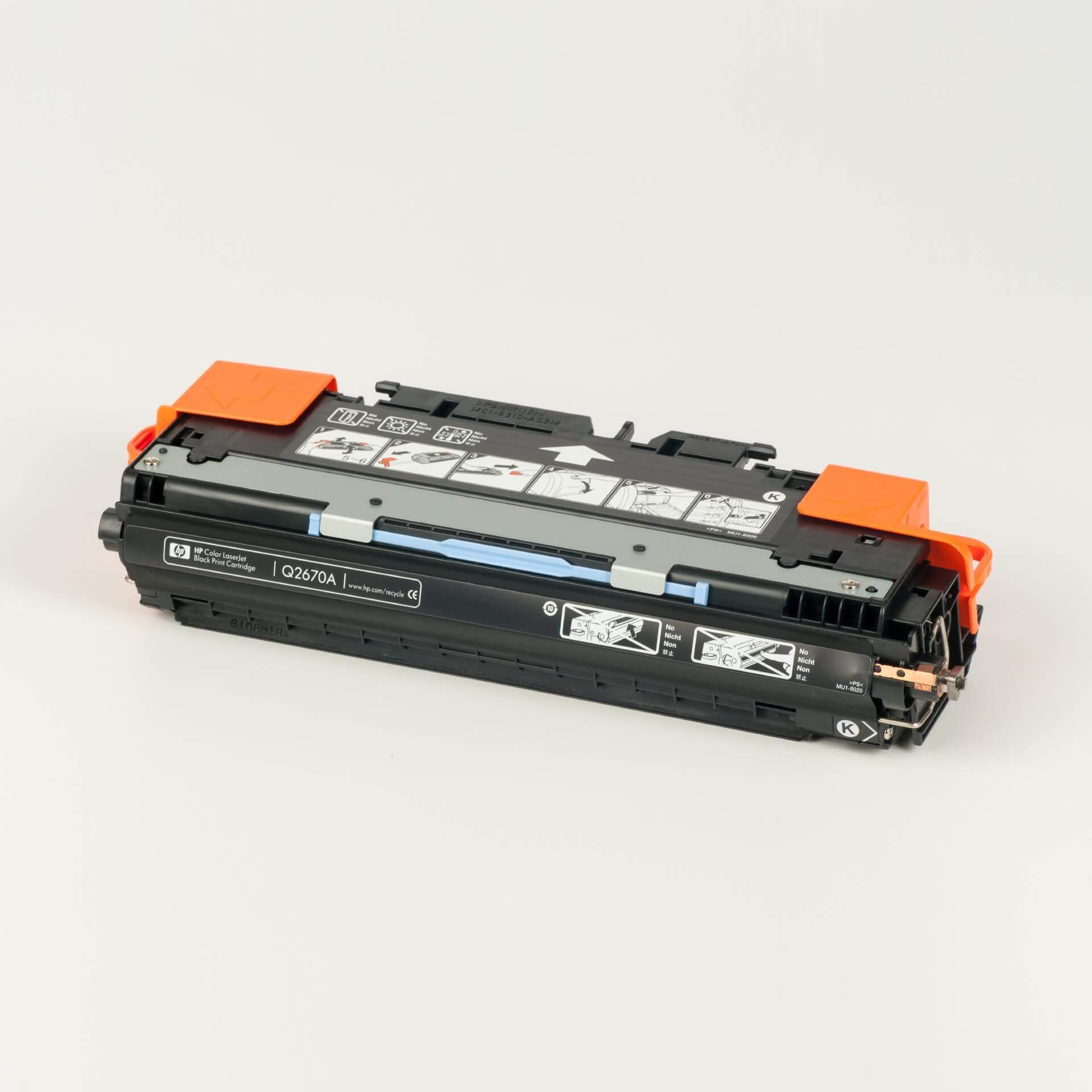 Auf dem Bild sehen Sie eine HP 308A (Q2670A) Schwarz Original Tonerkartusche