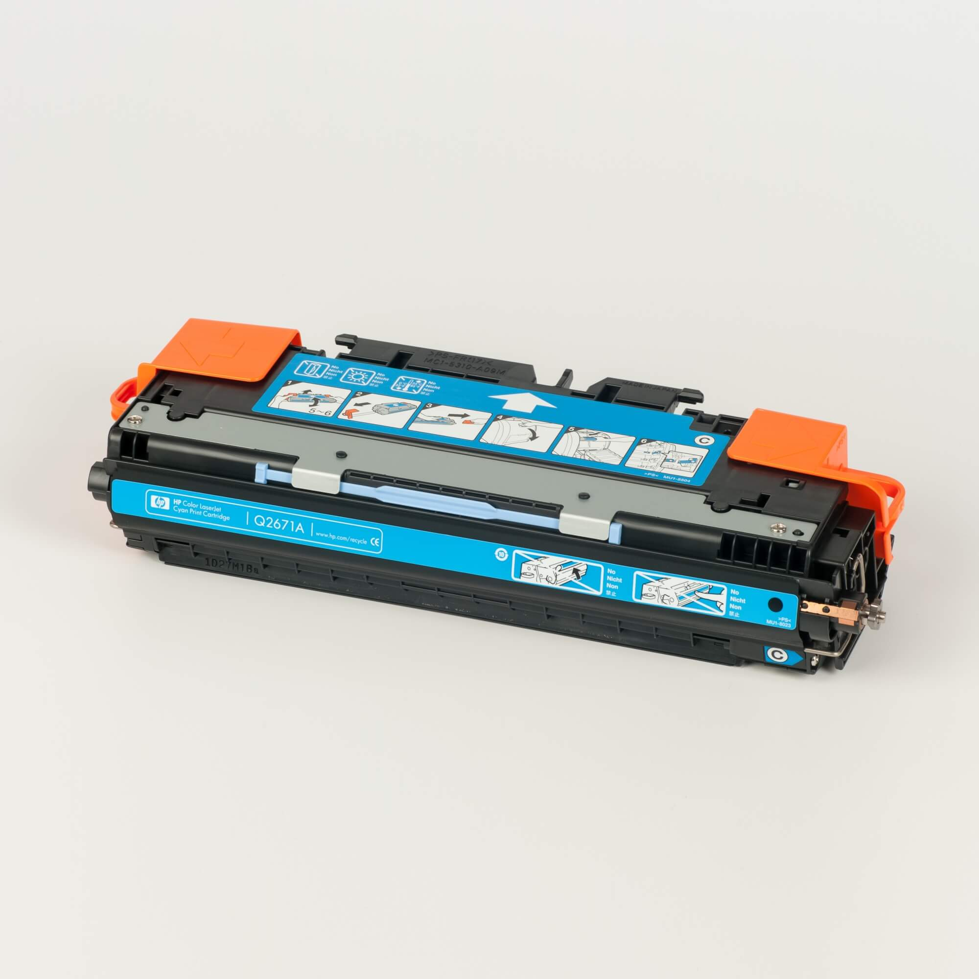 Auf dem Bild sehen Sie eine HP 309A (Q2671A) Blau Original Tonerkartusche