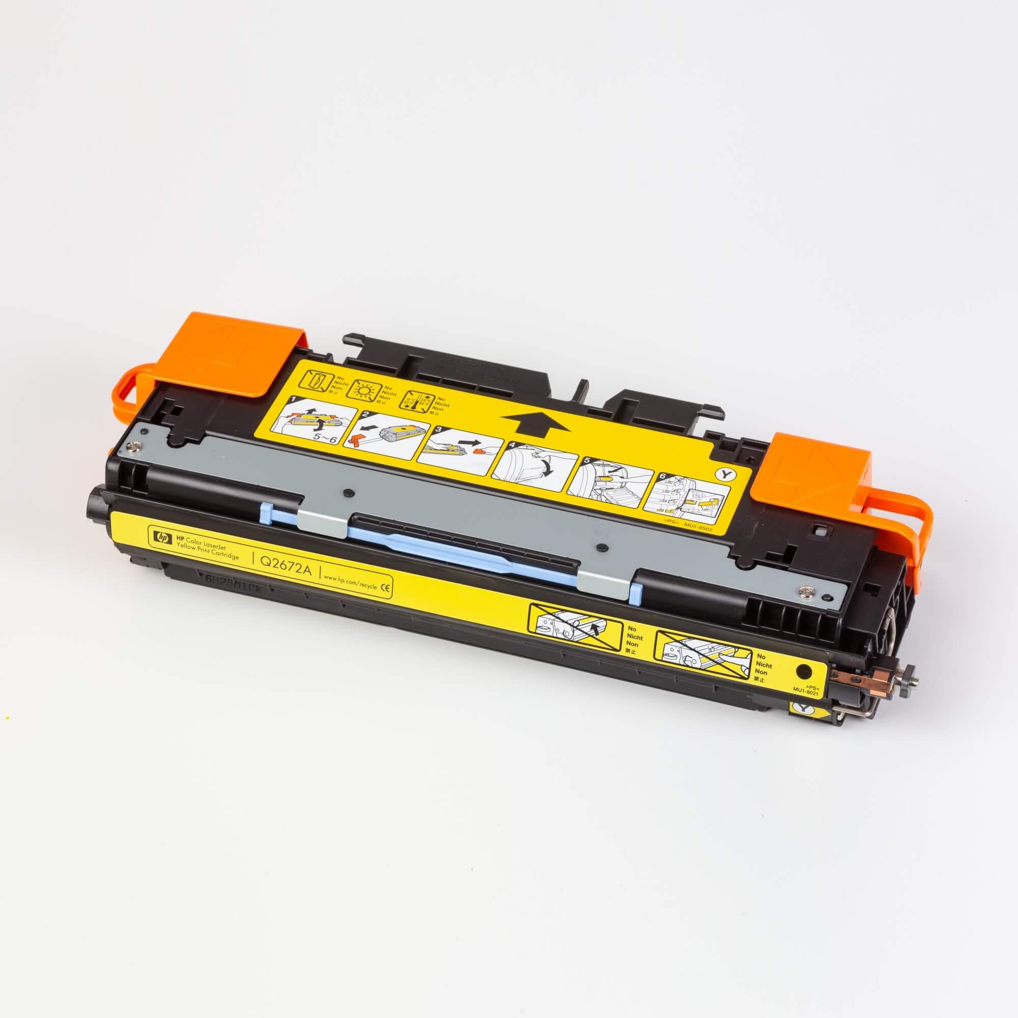 Auf dem Bild sehen Sie eine HP 309A (Q2672A) Gelb Original Tonerkartusche