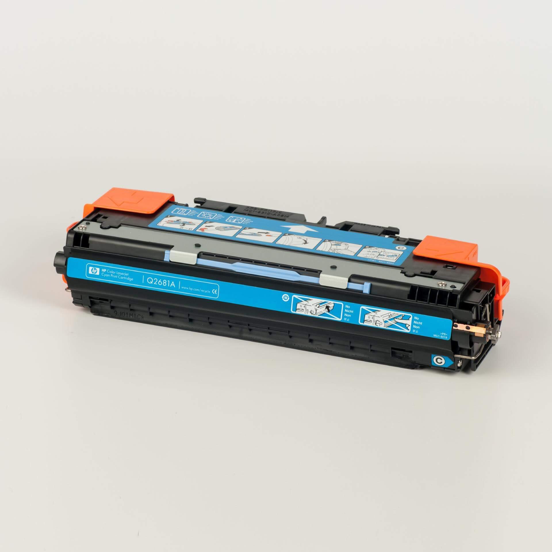 Auf dem Bild sehen Sie eine HP 311A (Q2681A) Blau Original Tonerkartusche