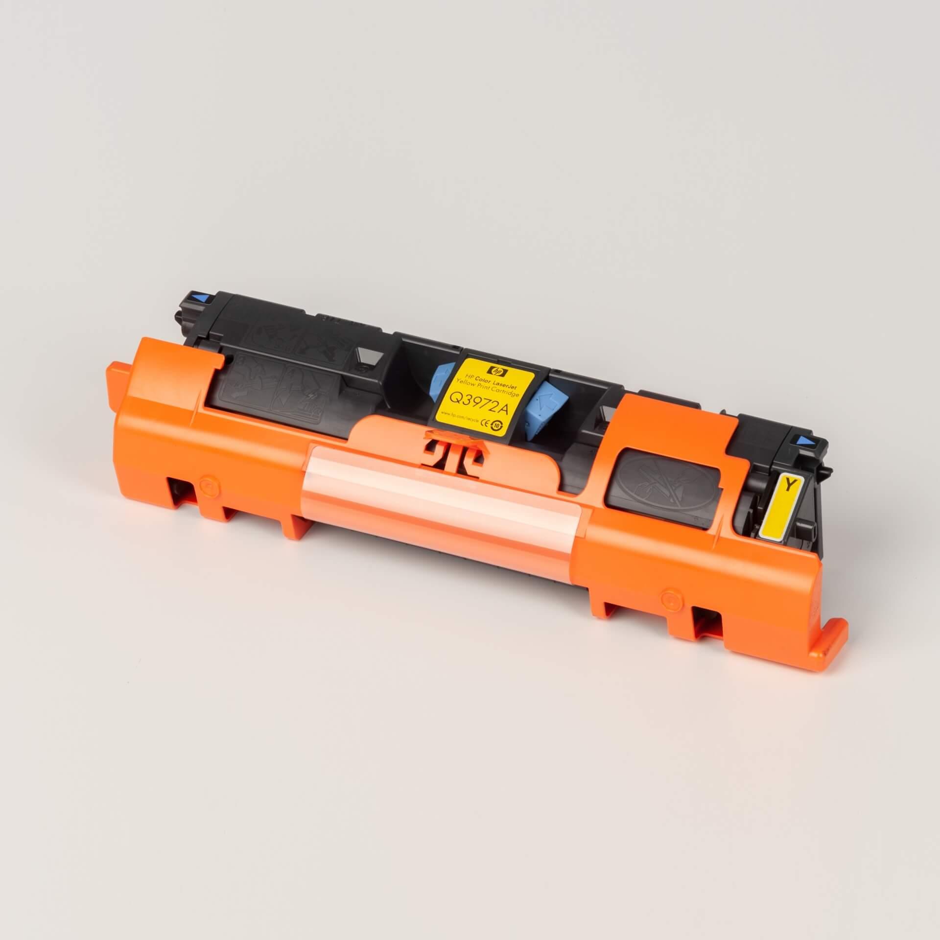 Auf dem Bild sehen Sie eine HP 123A (Q3972A) Yellow Original Tonerkartusche