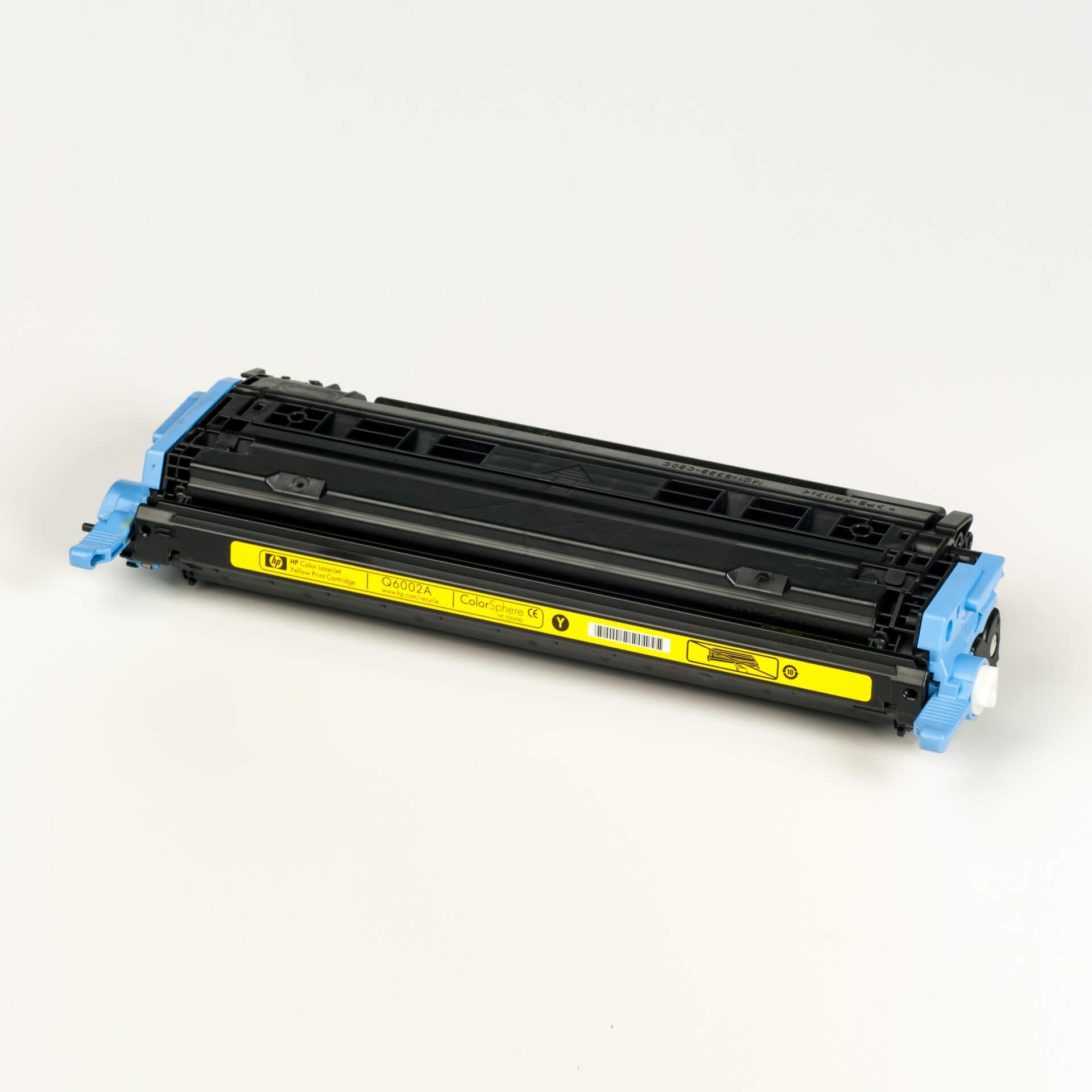 Auf dem Bild sehen Sie eine HP 124A (Q6002A) Gelb Original Tonerkartusche