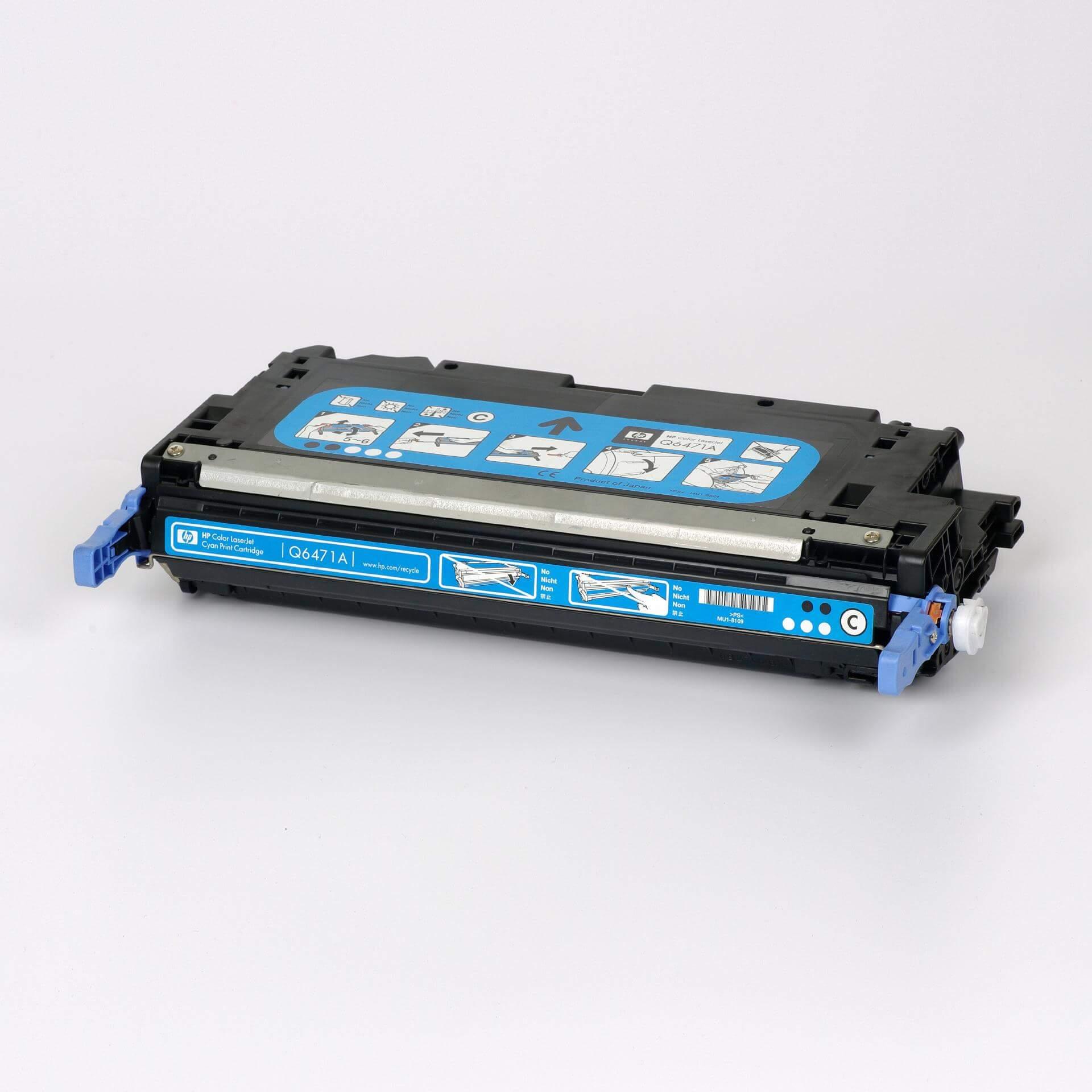 Auf dem Bild sehen Sie eine HP 502A (Q6471A) Blau Original Tonerkartusche