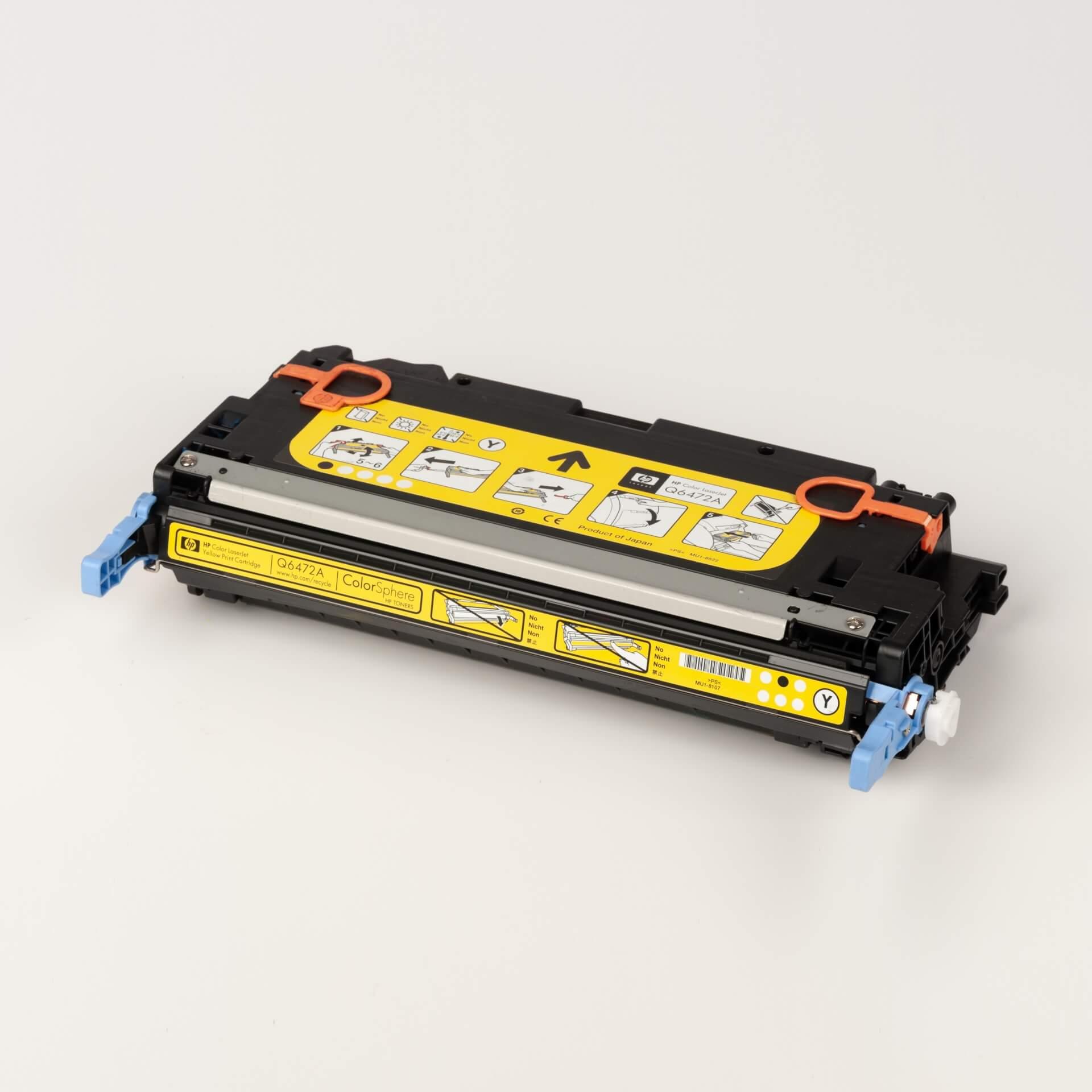 Auf dem Bild sehen Sie eine HP 502A (Q6472A) Gelb Original Tonerkartusche