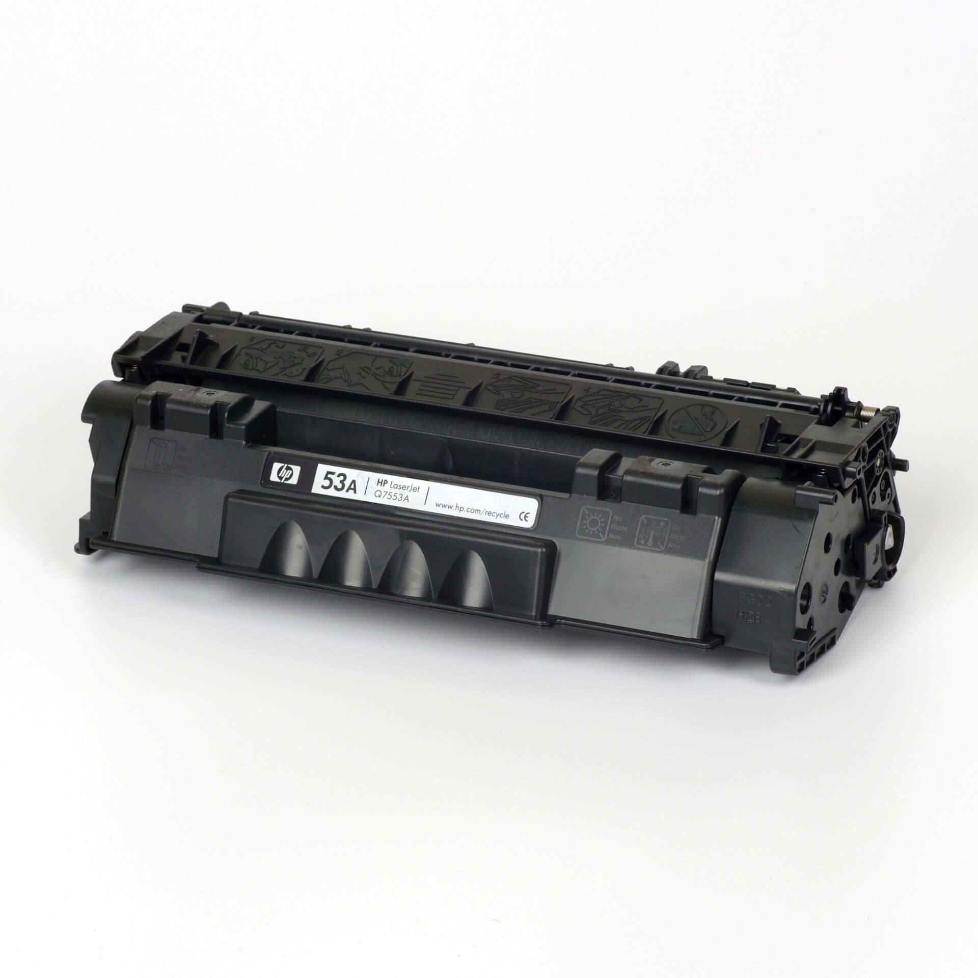 Auf dem Bild sehen Sie eine HP 53A (Q7553A) Schwarz Original Tonerkartusche