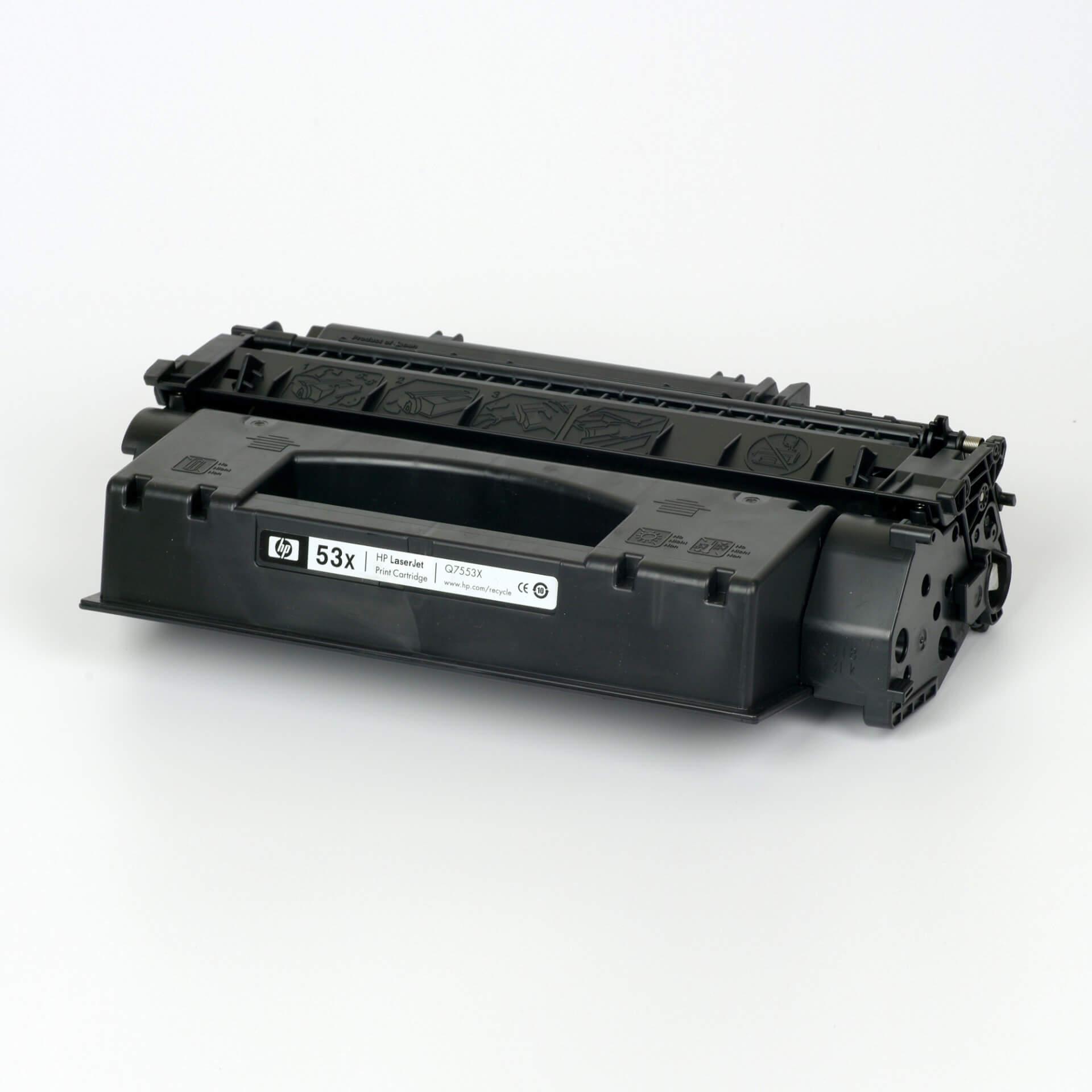 Auf dem Bild sehen Sie eine HP 53X (Q7553X) Schwarz Original Tonerkartusche