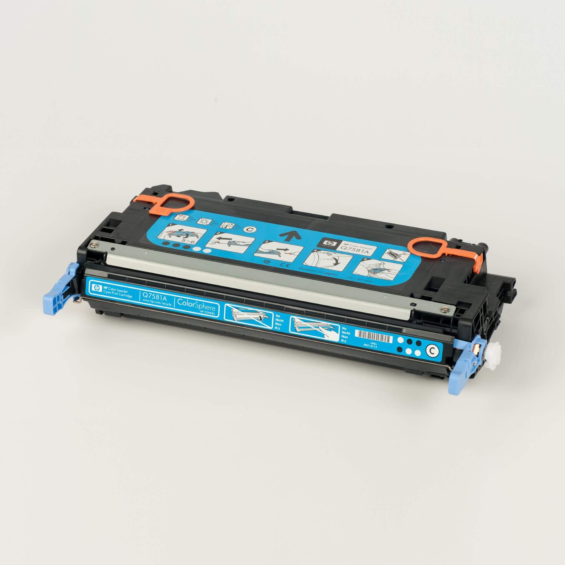 Auf dem Bild sehen Sie eine HP 503A (Q7581A) Blau Original LaserJet Tonerkartusche