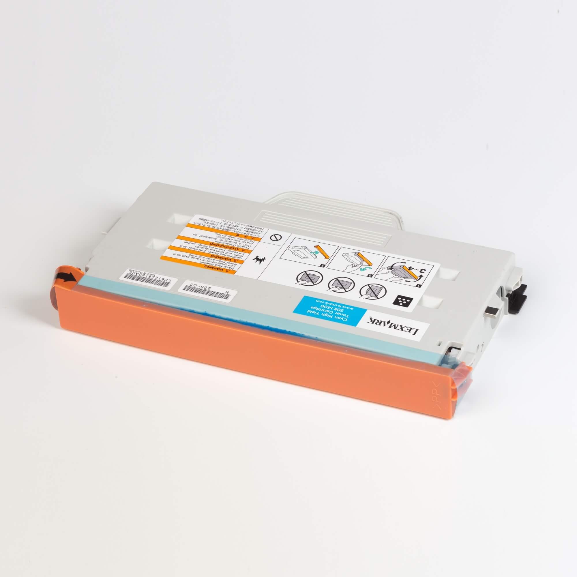 Auf dem Bild sehen Sie eine Lexmark 20K1400 Original Tonerkartusche blau mit hoher Kapazität