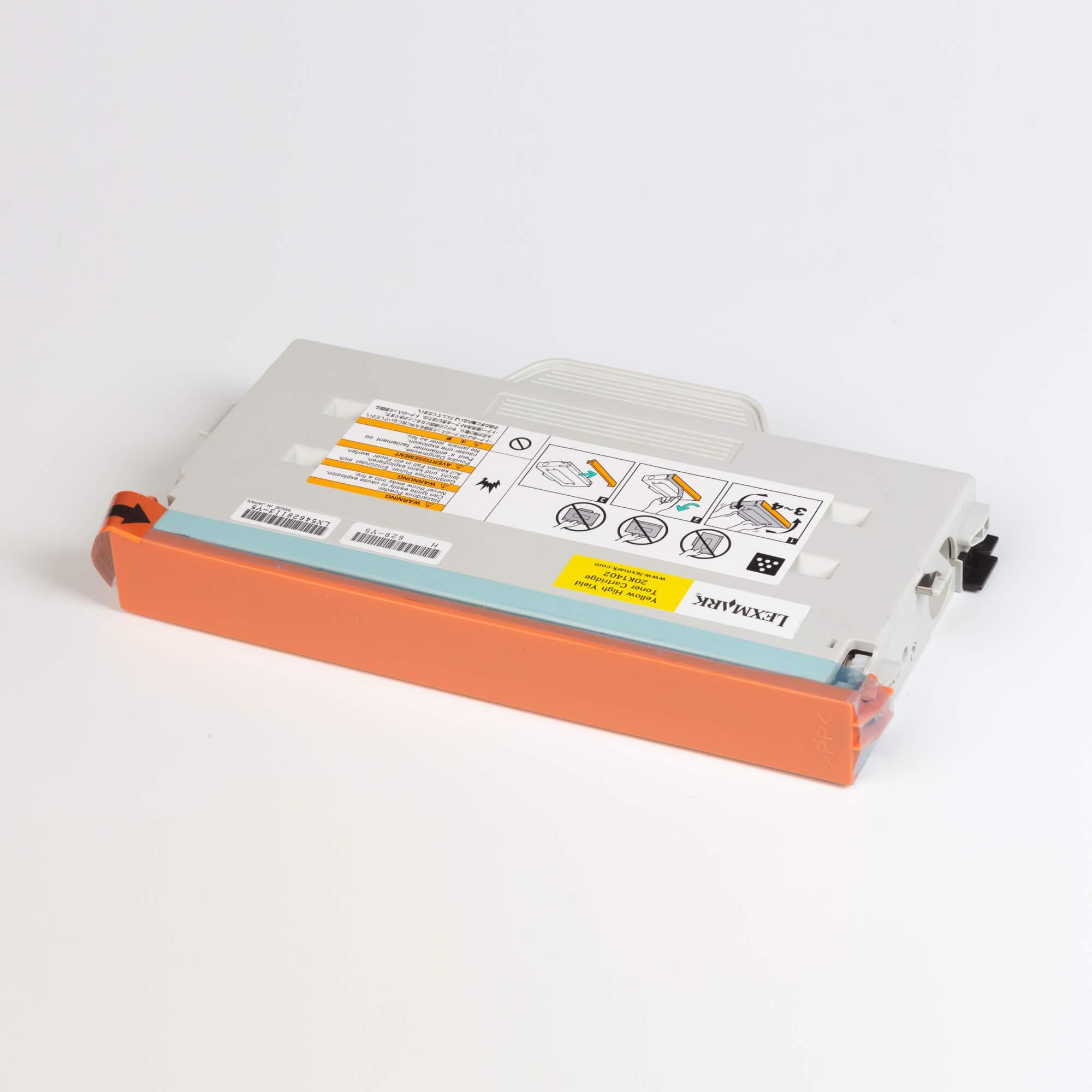 Auf dem Bild sehen Sie eine Lexmark 20K1402 Original Tonerkartusche gelb mit hoher Kapazität