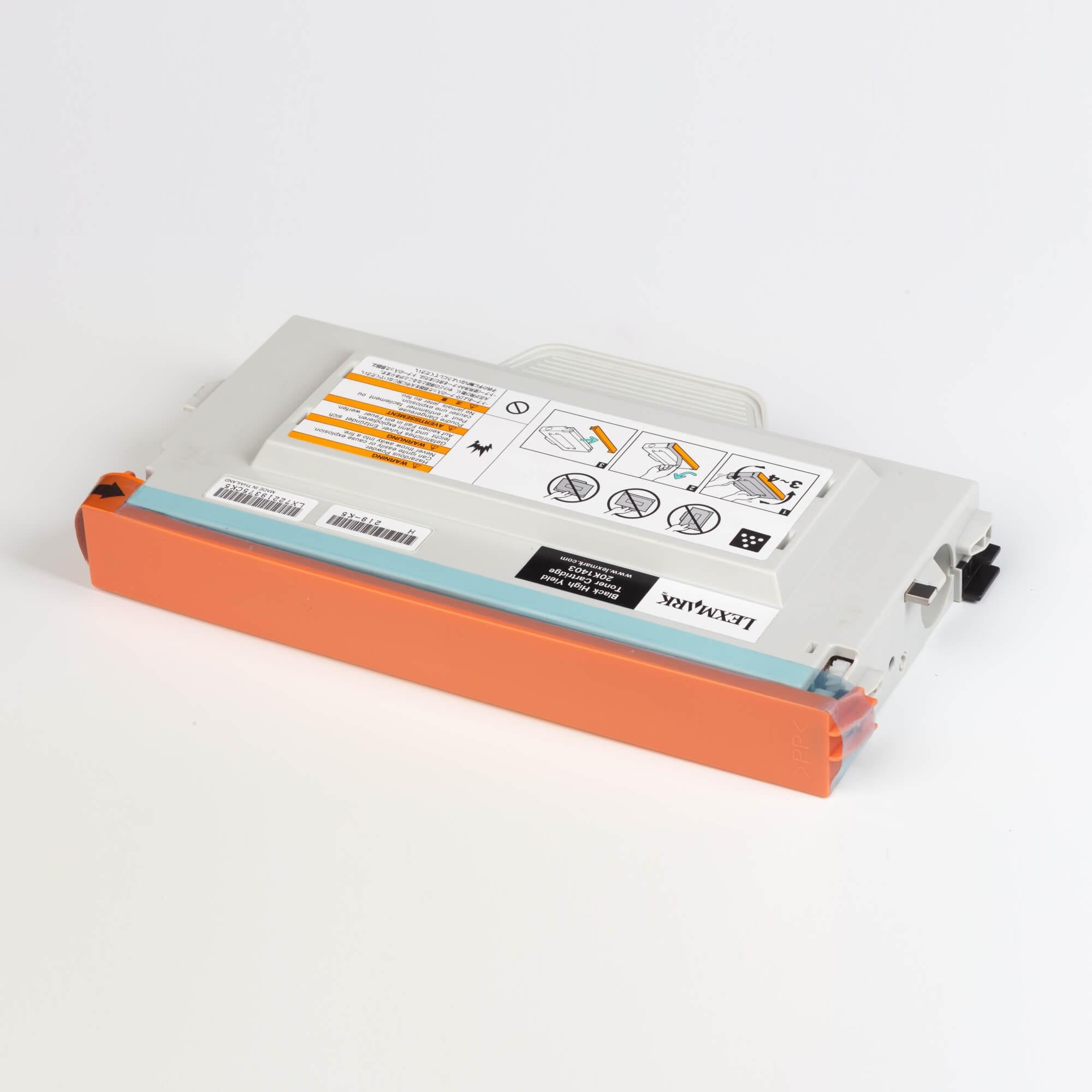 Auf dem Bild sehen Sie eine Lexmark 20K1403 Original Tonerkartusche schwarz mit hoher Kapazität