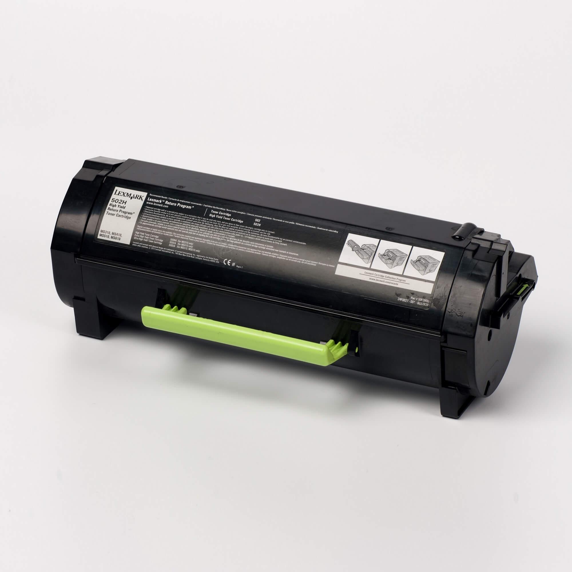 Auf dem Bild sehen Sie eine Lexmark 502H (50F2H00) Tonerkartusche schwarz mit hoher Kapazität