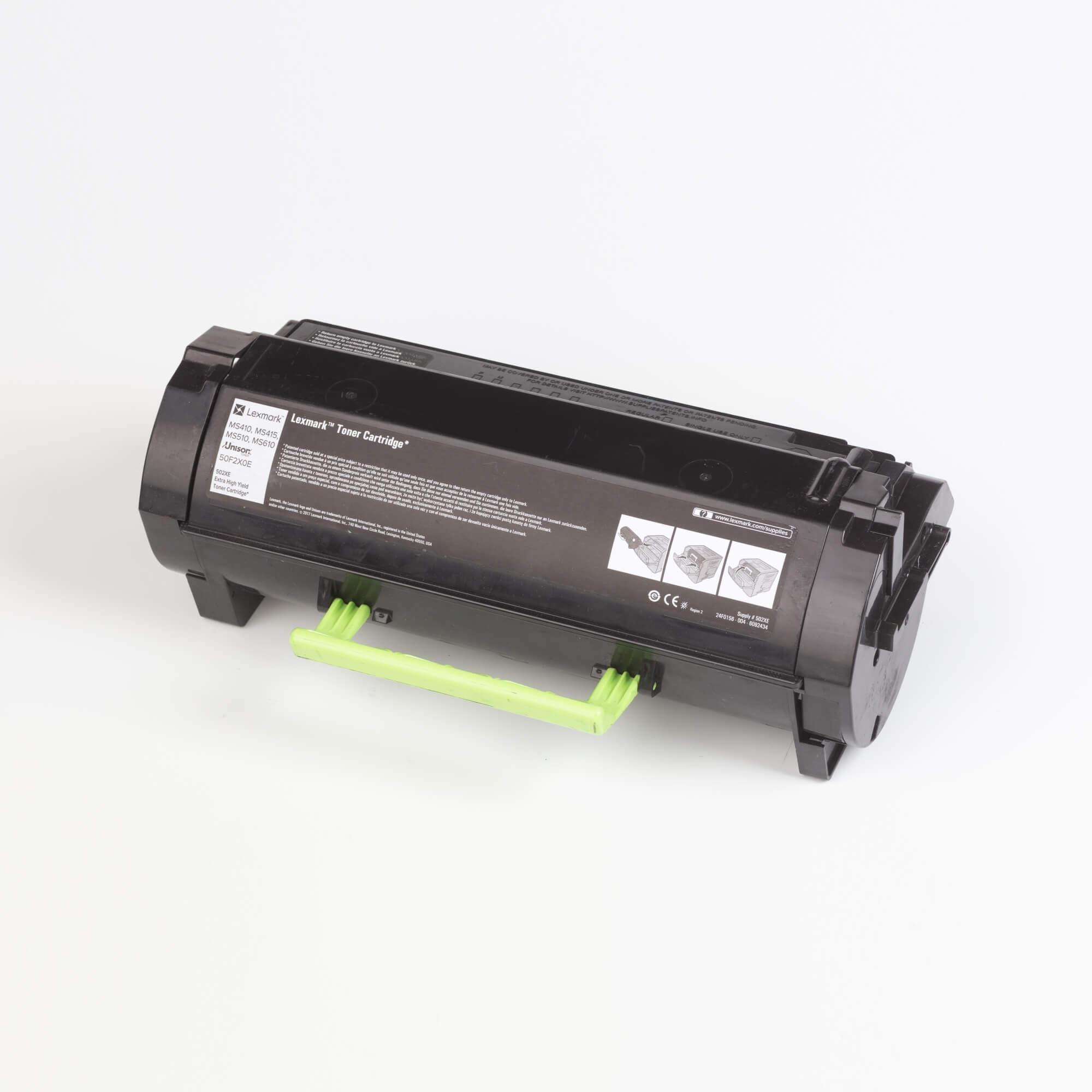 Auf dem Bild sehen Sie eine Lexmark 502X (50F2X0E) Tonerkartusche schwarz mit hoher Kapazität