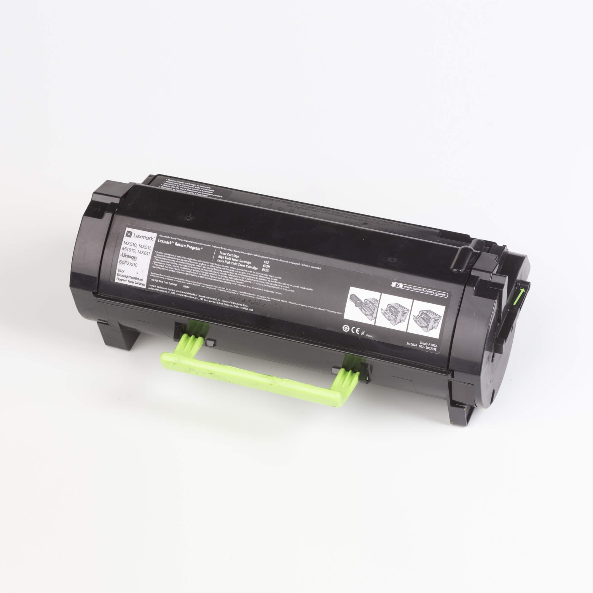 Auf dem Bild sehen Sie eine Lexmark 602X (60F2X00) Tonerkartusche schwarz mit hoher Kapazität