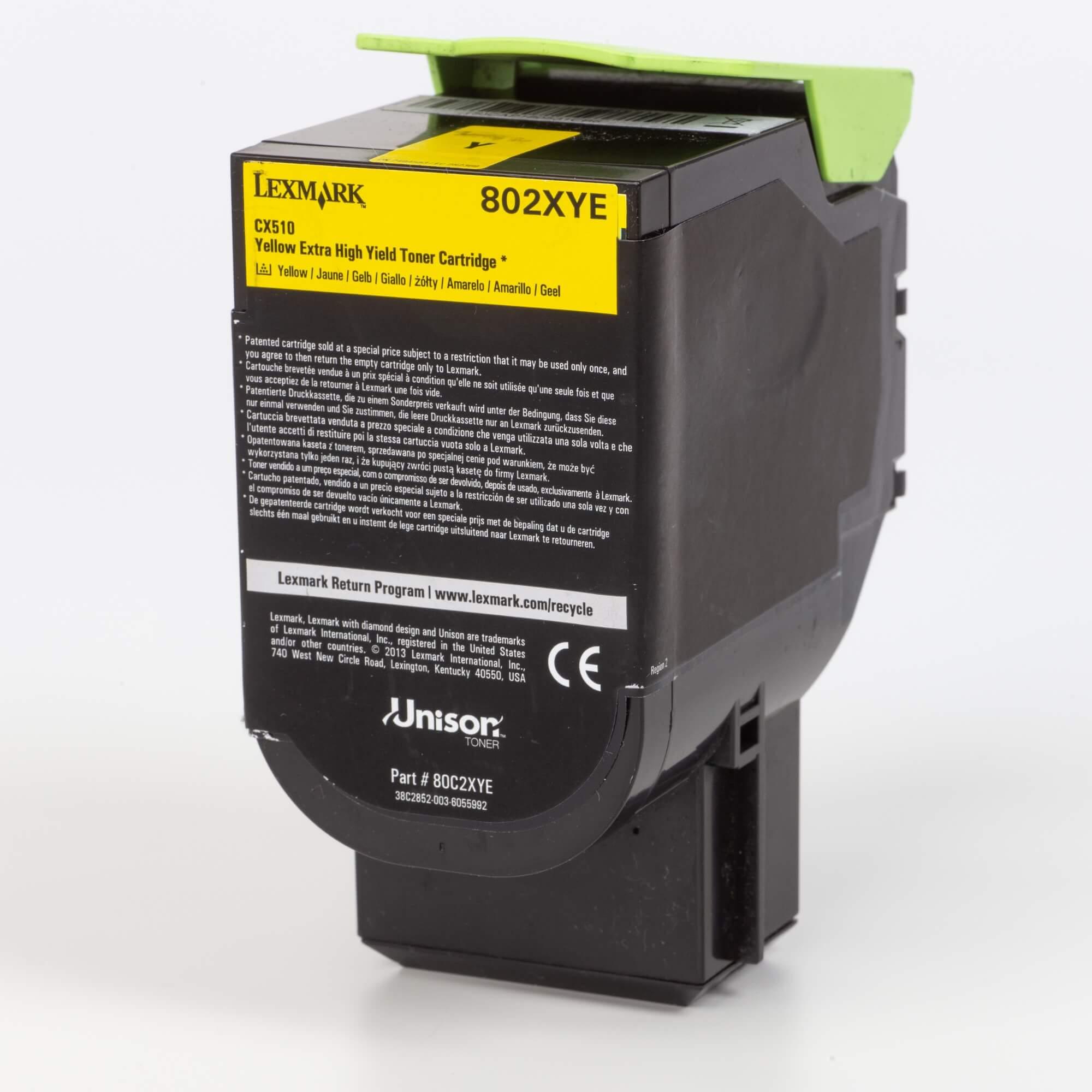 Auf dem Bild sehen Sie eine Lexmark 802XY (80C2XYE) Tonerkartusche gelb mit hoher Kapazität