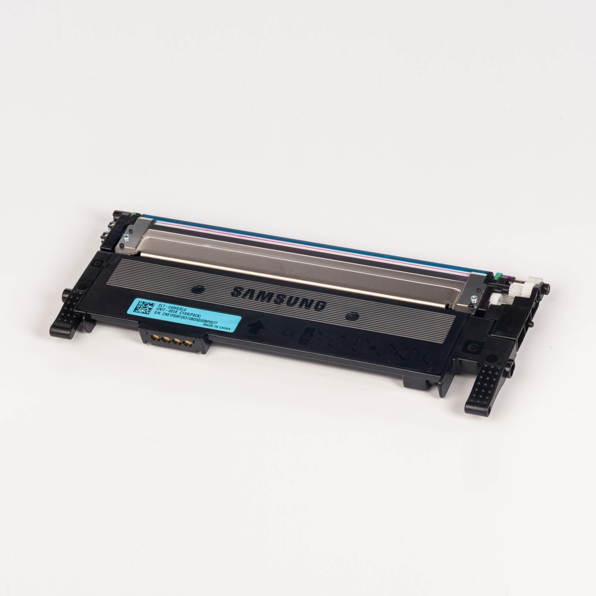 Auf dem Bild sehen Sie eine Samsung CLT-C406S/ELS Original Toner Blau